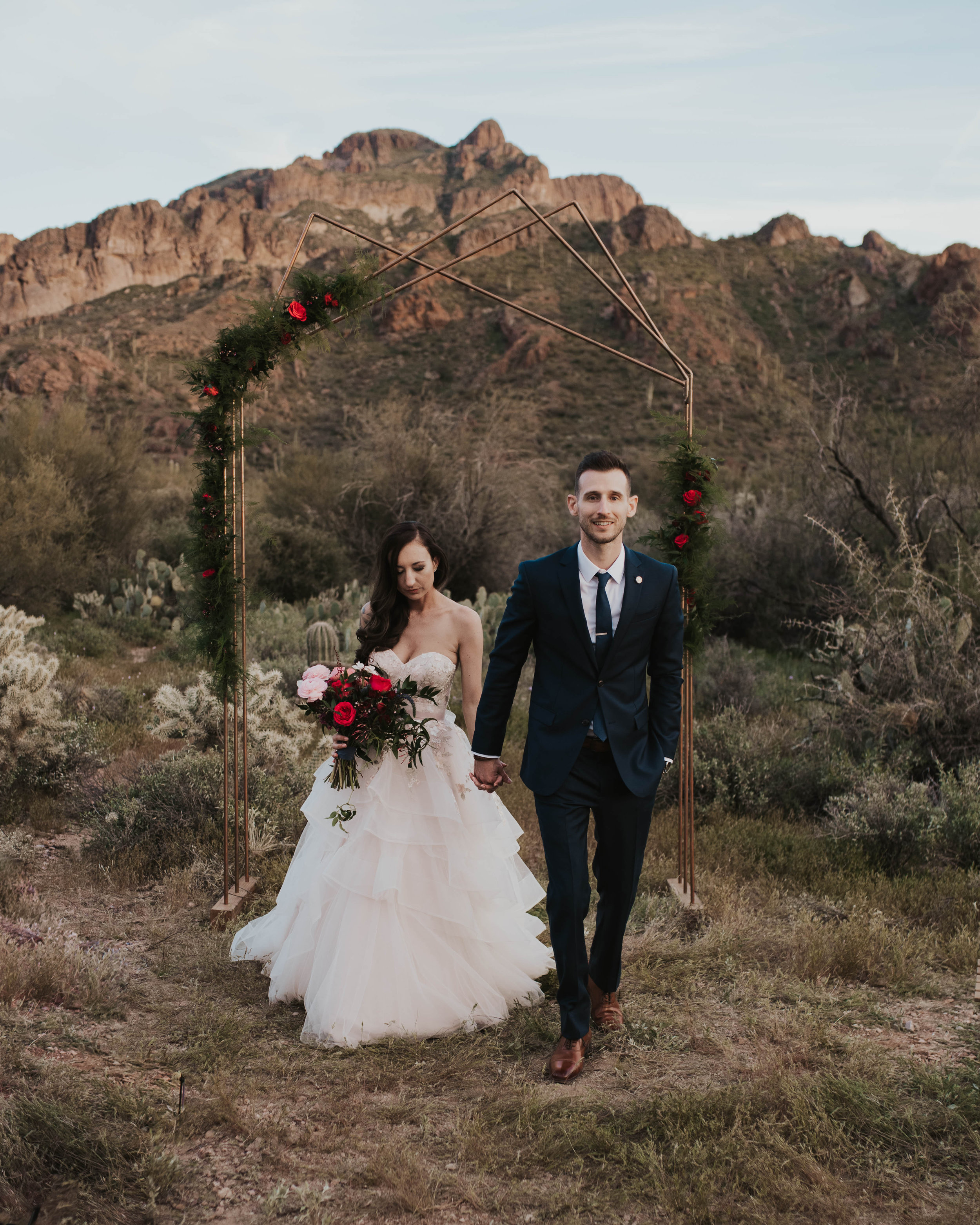 Desert Wedding at Tela Peralta - Arizona florist Phoenix scottsdale Mesa chandler Sedona Flagstaff Prescott - Modern Angular Ceremony Arch in the Desert Landscape