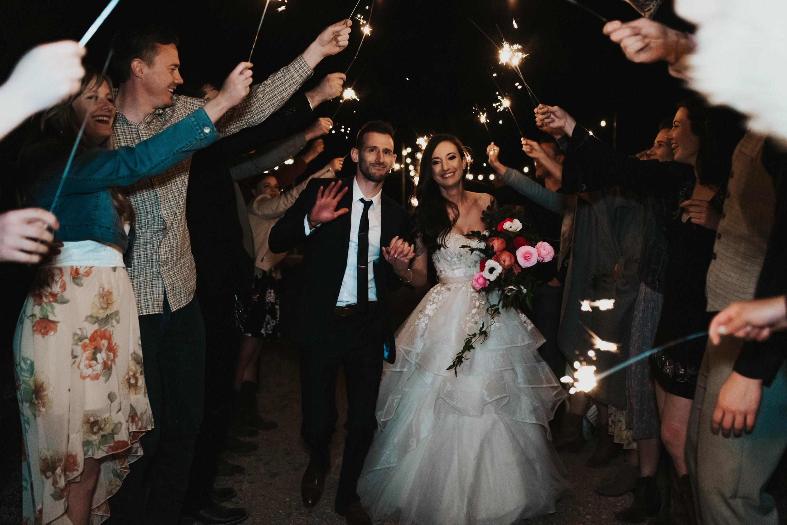 Desert Wedding at Tela Peralta - Arizona florist Phoenix scottsdale Mesa chandler Sedona Flagstaff Prescott - Sparkler Exit