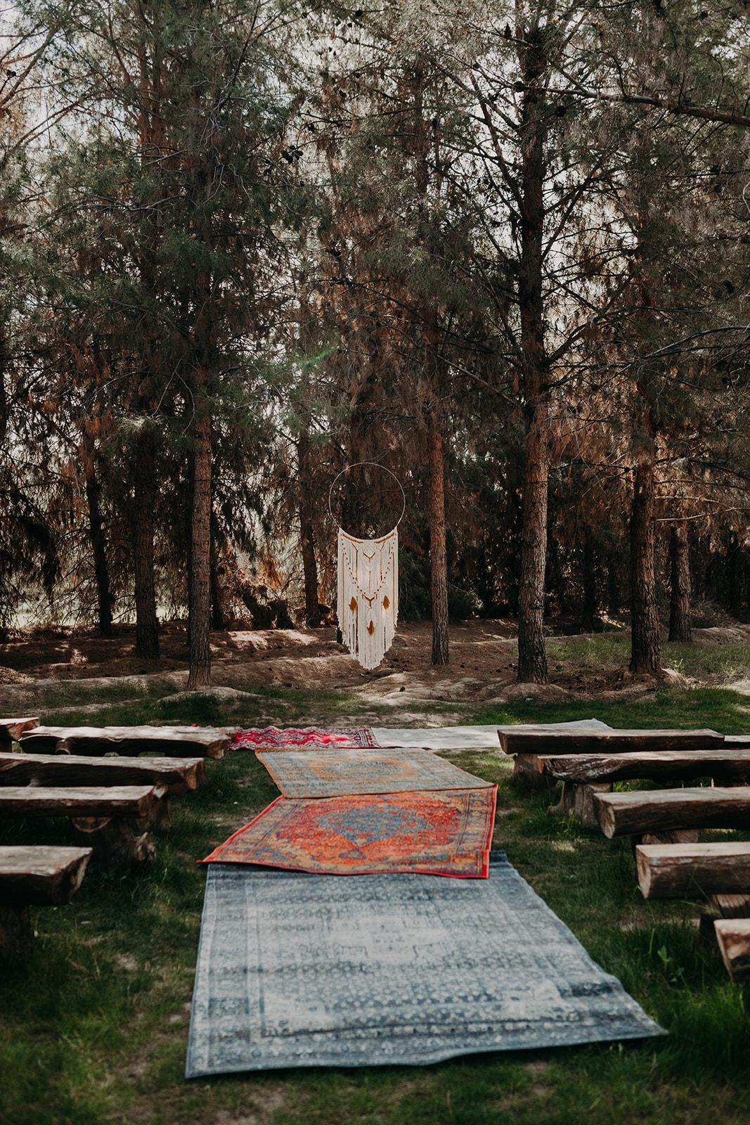 Disney Themed Wedding - Arizona florist Phoenix scottsdale Mesa chandler Sedona Flagstaff Prescott - Dream Catcher Ceremony Decor with Rug Aisle