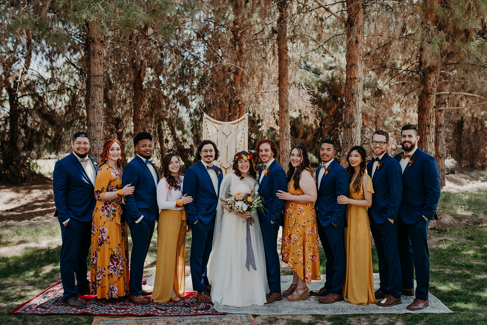 Disney Themed Wedding - Arizona florist Phoenix scottsdale Mesa chandler Sedona Flagstaff Prescott - Bridal Party in Mustard and Navy