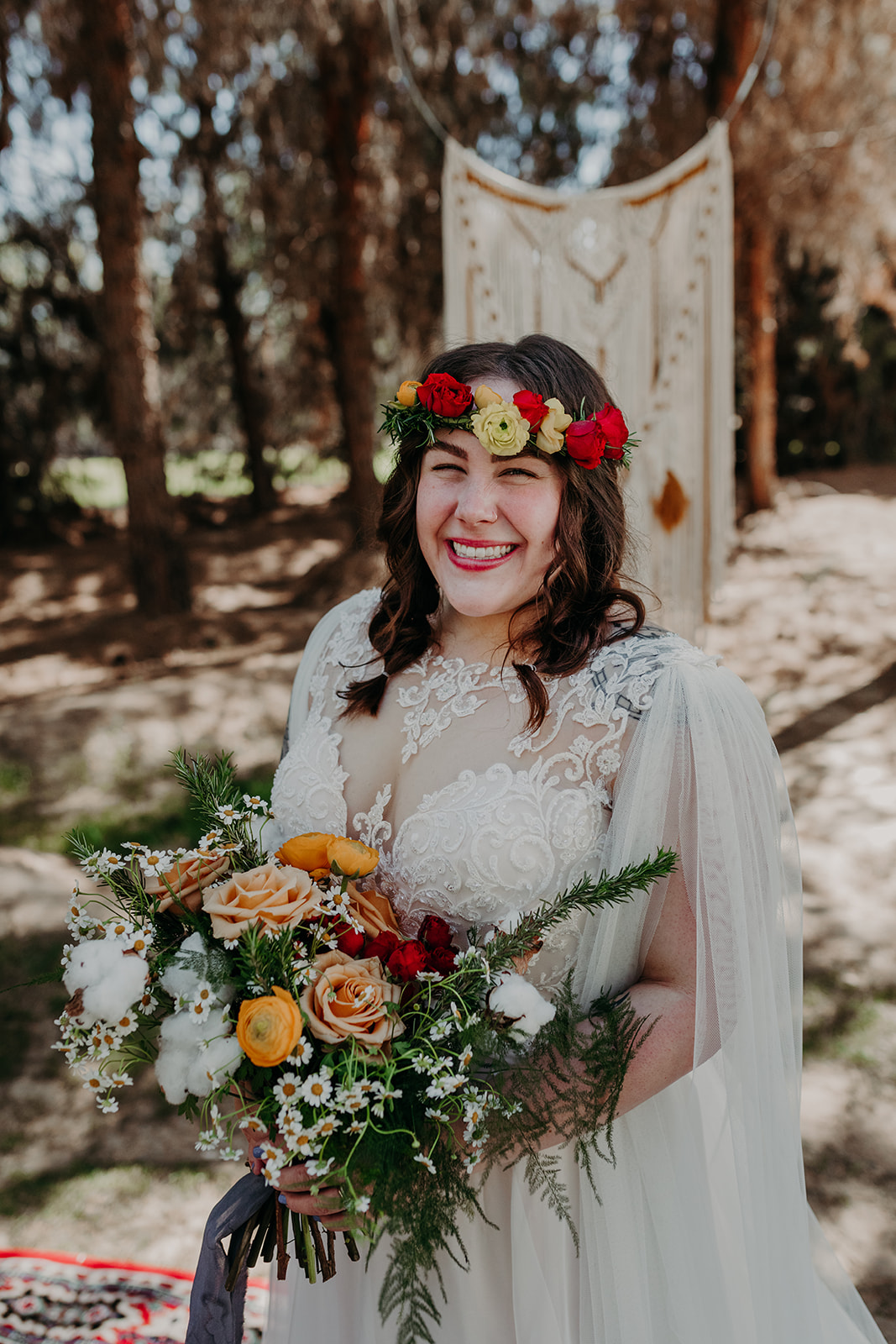 Disney Themed Wedding - Arizona florist Phoenix scottsdale Mesa chandler Sedona Flagstaff Prescott - Bridal Style Inspiration - Flower Crown and bouquet with ranunculus, roses, chamomile, cotton, and rosemary