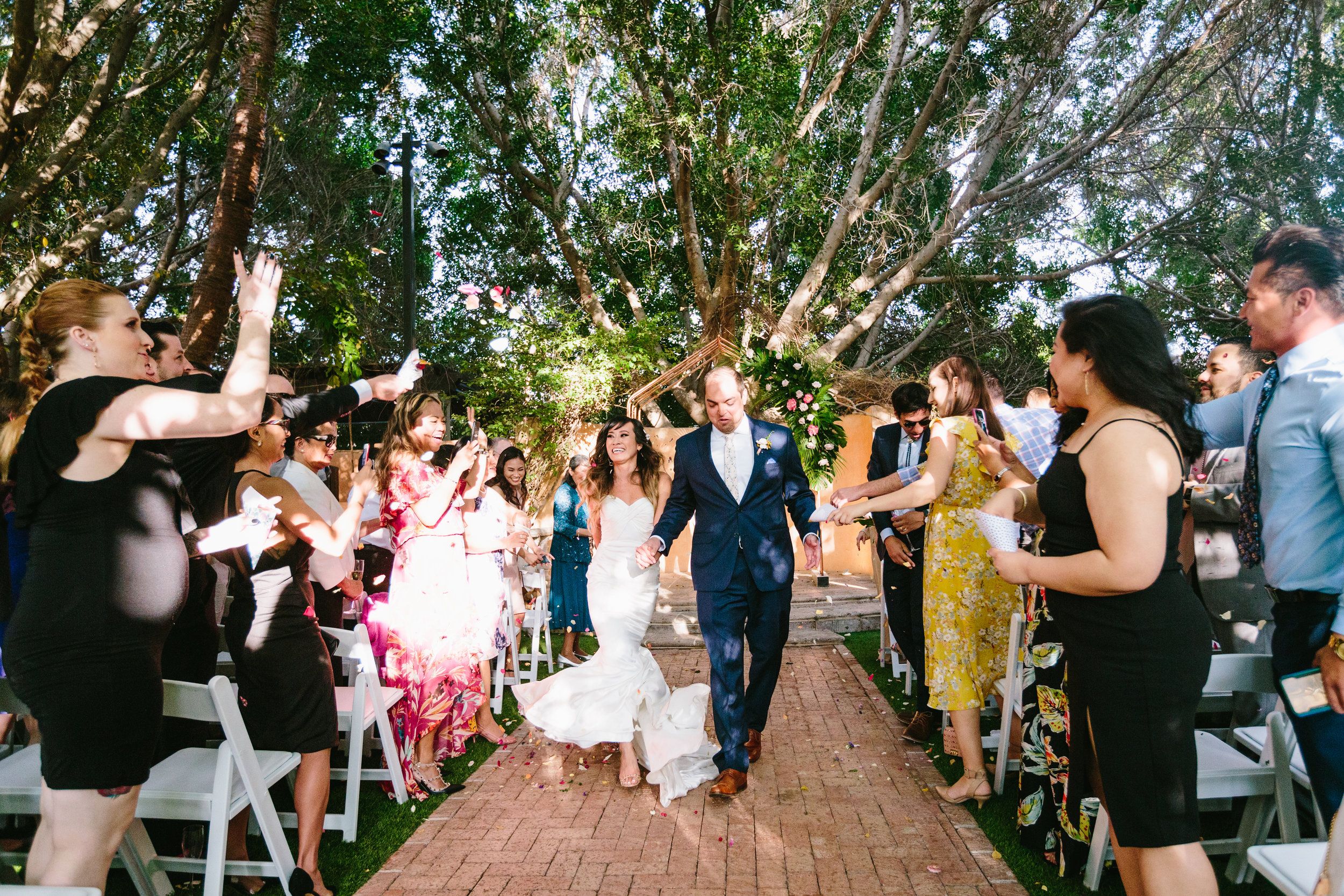 Tropical Royal Palms Wedding - Arizona florist Phoenix scottsdale Mesa chandler Sedona Flagstaff Prescott - Ceremony Exit