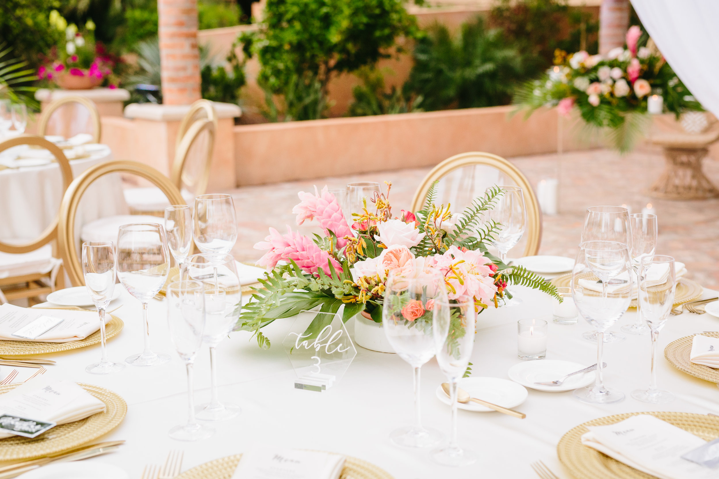 Tropical Royal Palms Wedding - Arizona florist Phoenix scottsdale Mesa chandler Sedona Flagstaff Prescott - Low Peony, Garden Rose, and Ginger Centerpieces