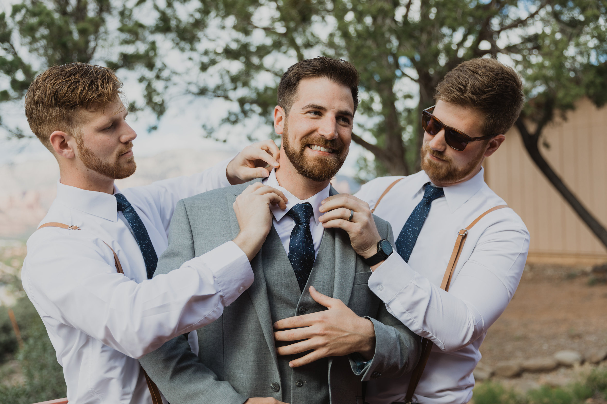 Stars and Moon Inspired Wedding in the Red Rocks of Sedona - Arizona Florist serving Phoenix scottsdale Mesa chandler Flagstaff Prescott - Groom and Groomsmen Getting Ready