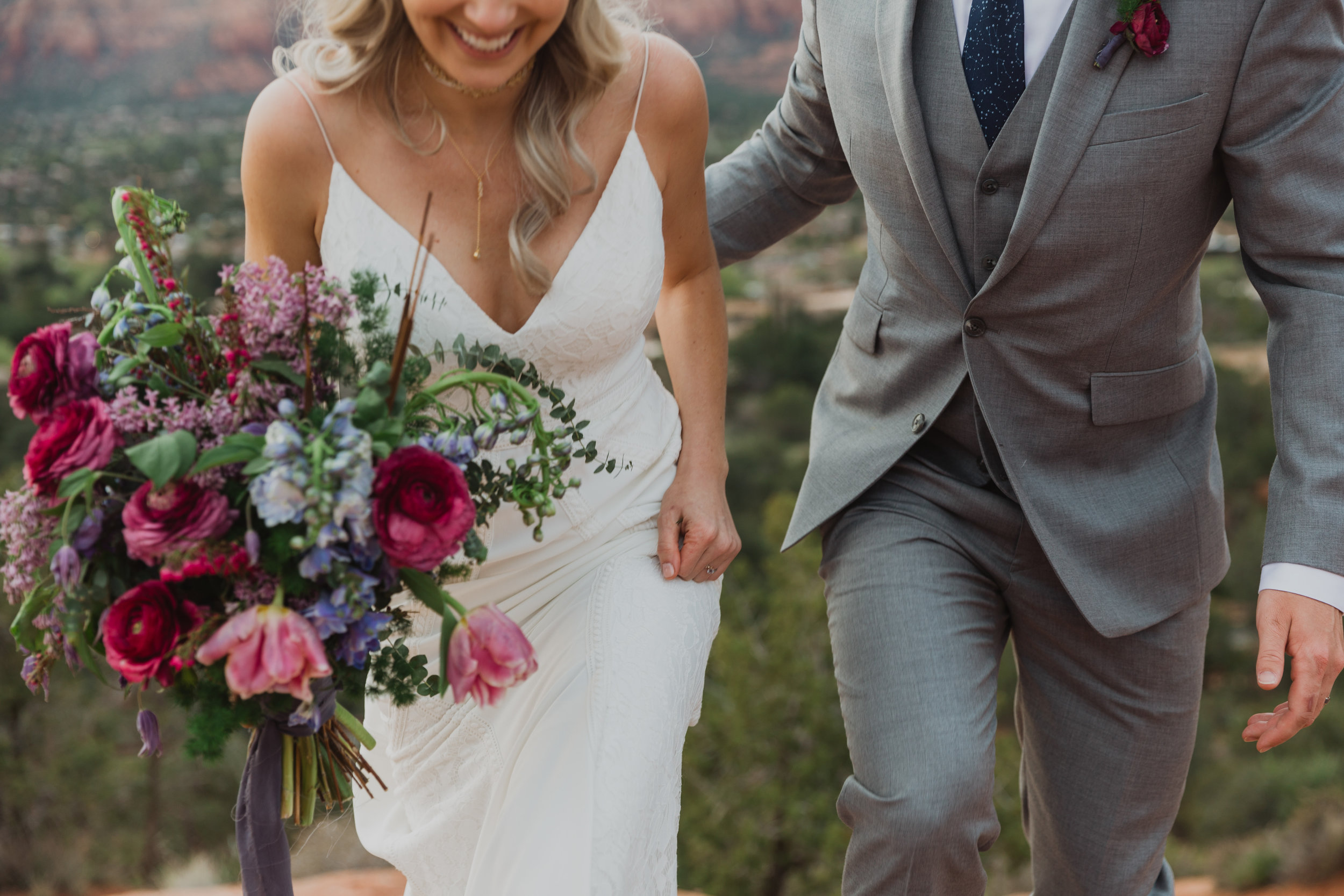 Stars and Moon Inspired Wedding in the Red Rocks of Sedona - Arizona Florist serving Phoenix scottsdale Mesa chandler Flagstaff Prescott - Bride and Groom Style - Purple and Blue Bridal Bouquet