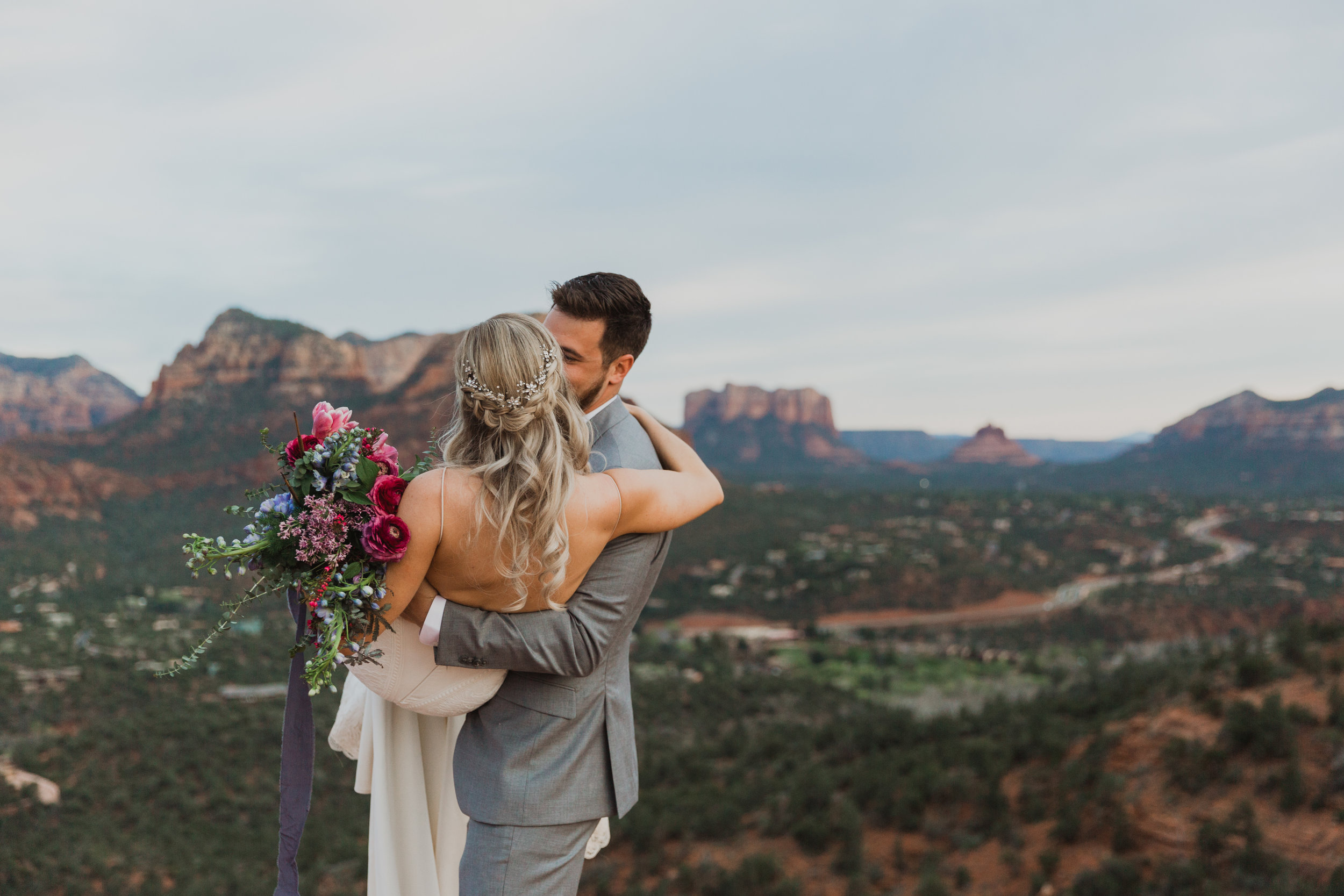 Stars and Moon Inspired Wedding in the Red Rocks of Sedona - Arizona Florist serving Phoenix scottsdale Mesa chandler Flagstaff Prescott - Bride and Groom Portraits