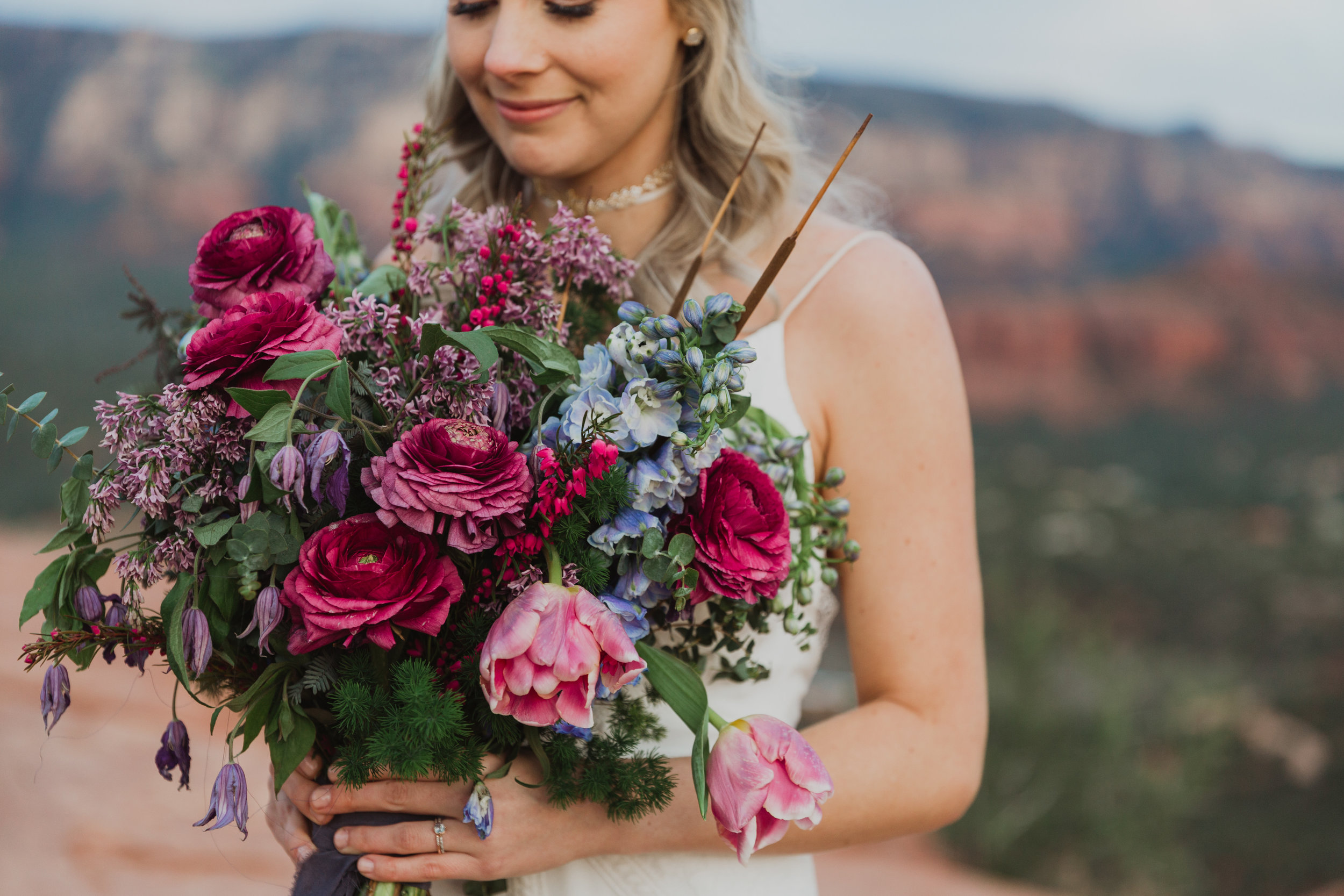 Stars and Moon Inspired Wedding in the Red Rocks of Sedona - Arizona Florist serving Phoenix scottsdale Mesa chandler Flagstaff Prescott - Bridal Bouquet