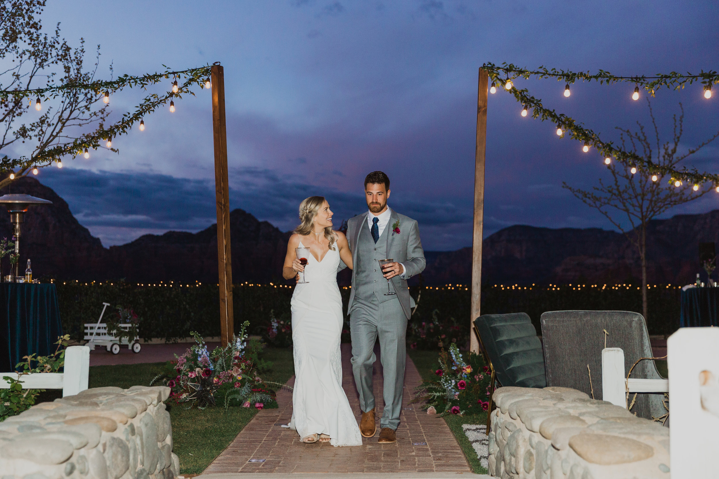 Stars and Moon Inspired Wedding in the Red Rocks of Sedona - Arizona Florist serving Phoenix scottsdale Mesa chandler Flagstaff Prescott - Bride and Groom Exit