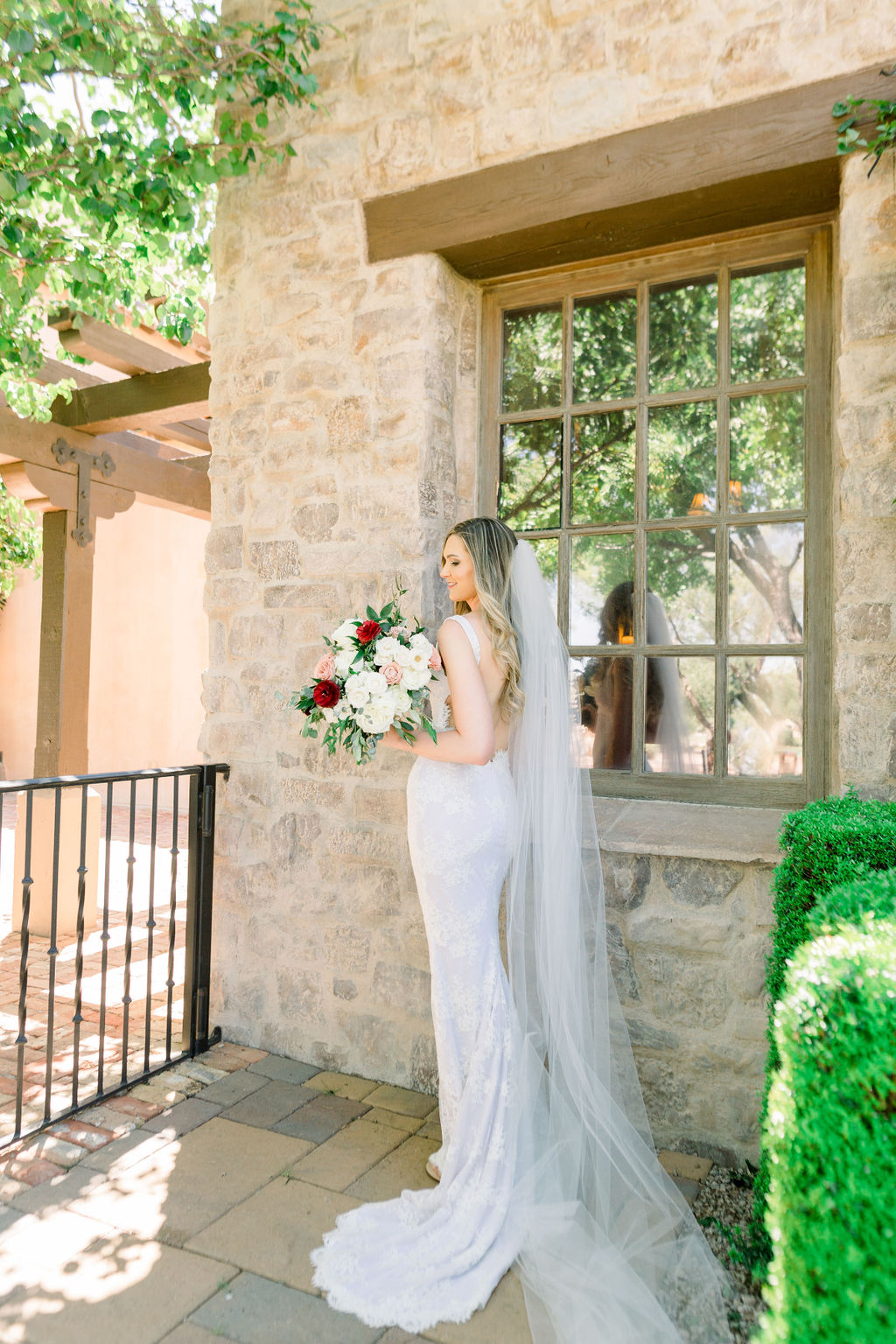 Superstition Mountain Destination Wedding - Arizona Wedding Florist - Phoenix, Scottsdale, Sedona - Classic Bridal Gown with Floor Length Veil