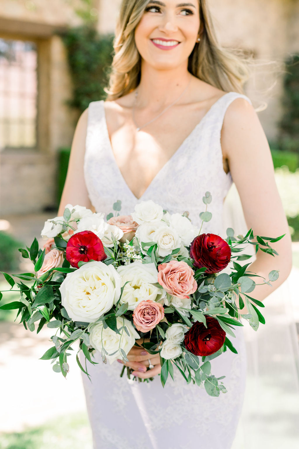 Superstition Mountain Destination Wedding - Arizona Wedding Florist - Phoenix, Scottsdale, Sedona - Bridal Bouquet in white, dusty blush, and burgundy