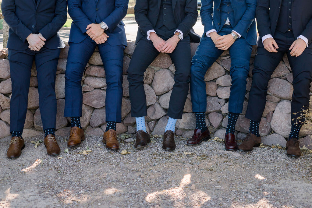 Superstition Mountain Destination Wedding - Arizona Wedding Florist - Phoenix, Scottsdale, Sedona - Groom and Groomsmen Style Inspiration - Patterned Socks