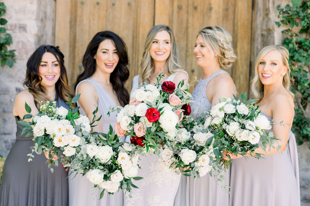 Superstition Mountain Destination Wedding - Arizona Wedding Florist - Phoenix, Scottsdale, Sedona - Bridesmaids Bouquets with White Roses and Eucalyptus