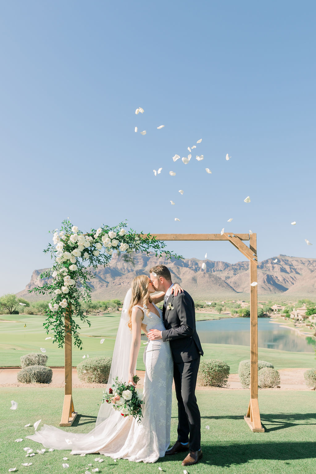 Superstition Mountain Destination Wedding - Arizona Wedding Florist - Phoenix, Scottsdale, Sedona - Simple Wedding Arch with White Roses and Greenery