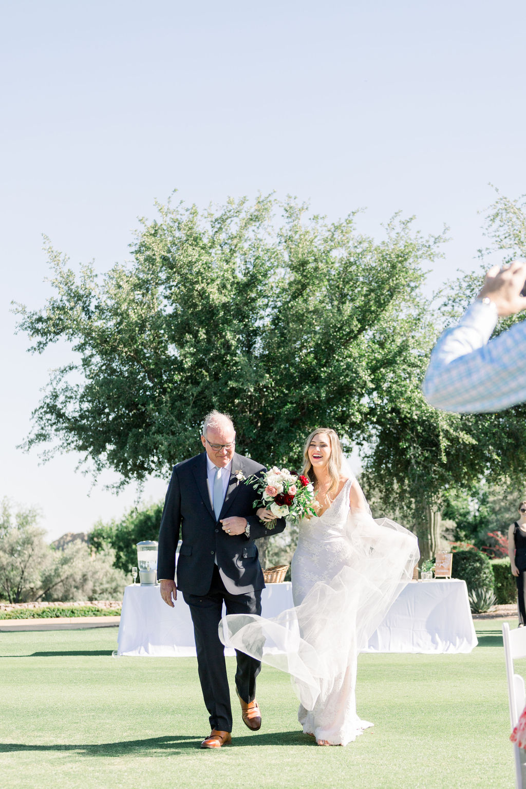 Superstition Mountain Destination Wedding - Arizona Wedding Florist - Phoenix, Scottsdale, Sedona - Bride Walking Down the Aisle