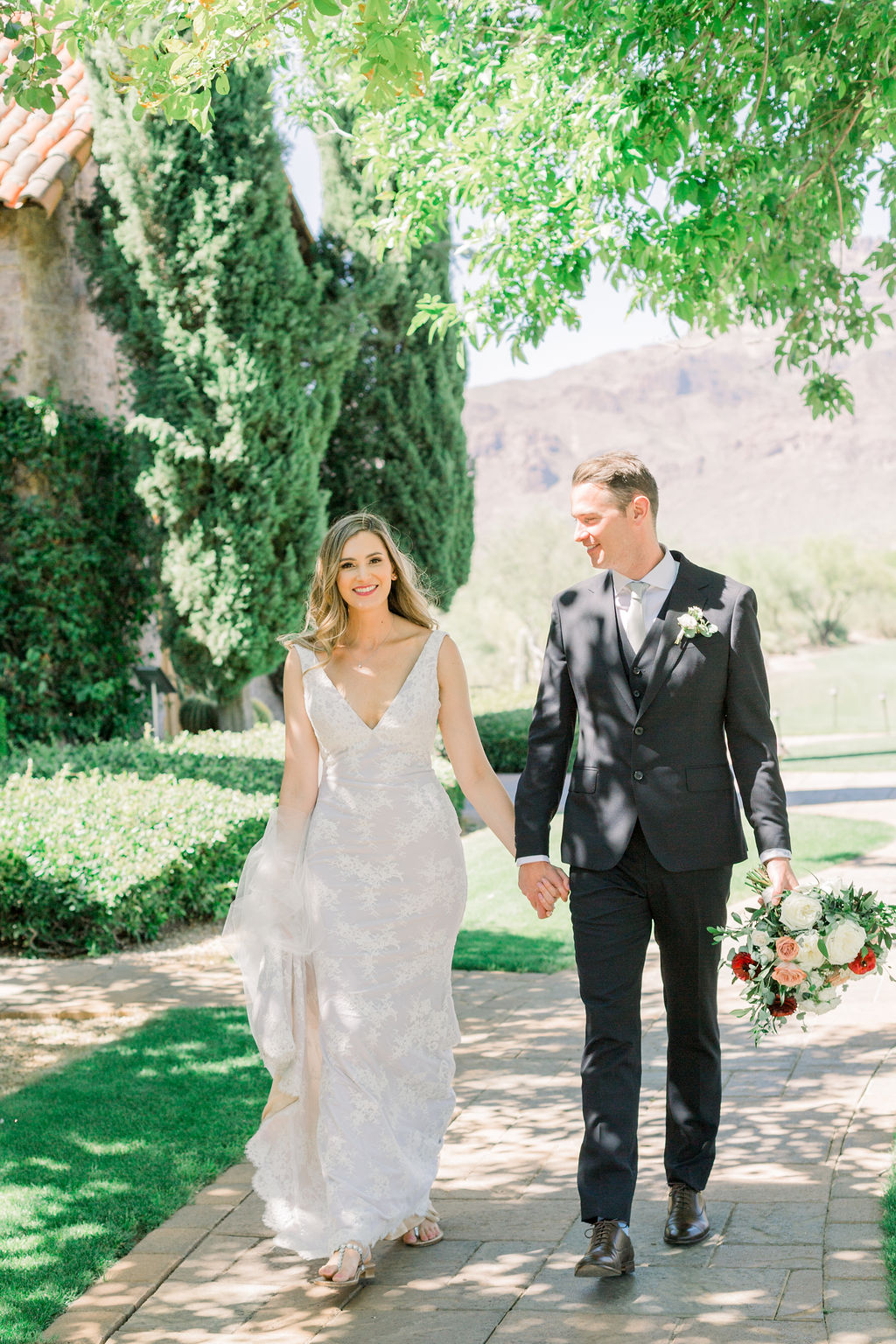 Superstition Mountain Destination Wedding - Arizona Wedding Florist - Phoenix, Scottsdale, Sedona - Bride and Groom Portrait Inspiration