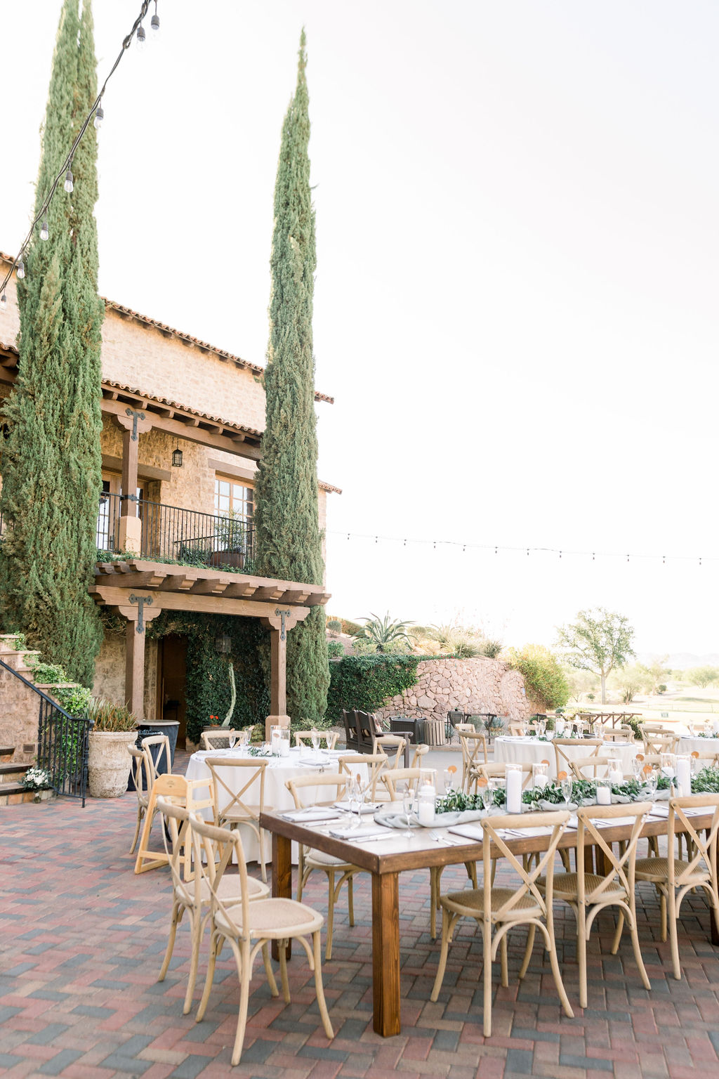 Superstition Mountain Destination Wedding - Arizona Wedding Florist - Phoenix, Scottsdale, Sedona - Wedding Reception with Farm Tables and Garland Centerpieces