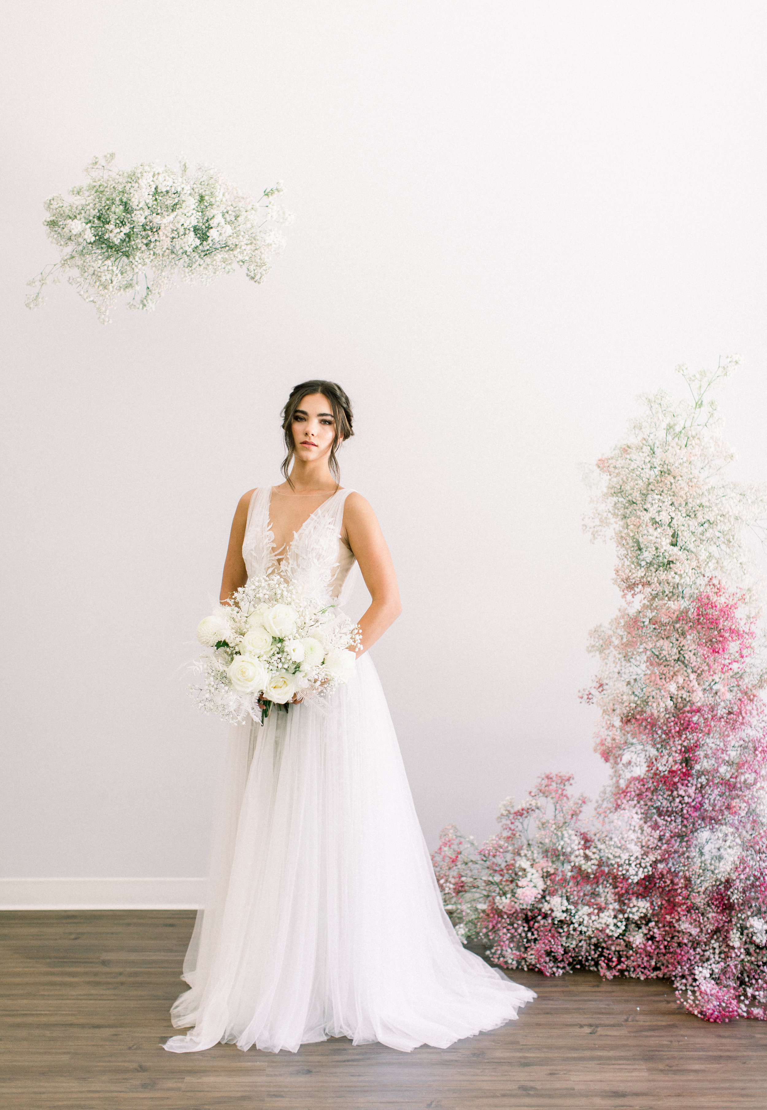 Bridal Gown Lookbook - Arizona florist Phoenix Scottsdale Sedona - Babies Breath Ombre Installation