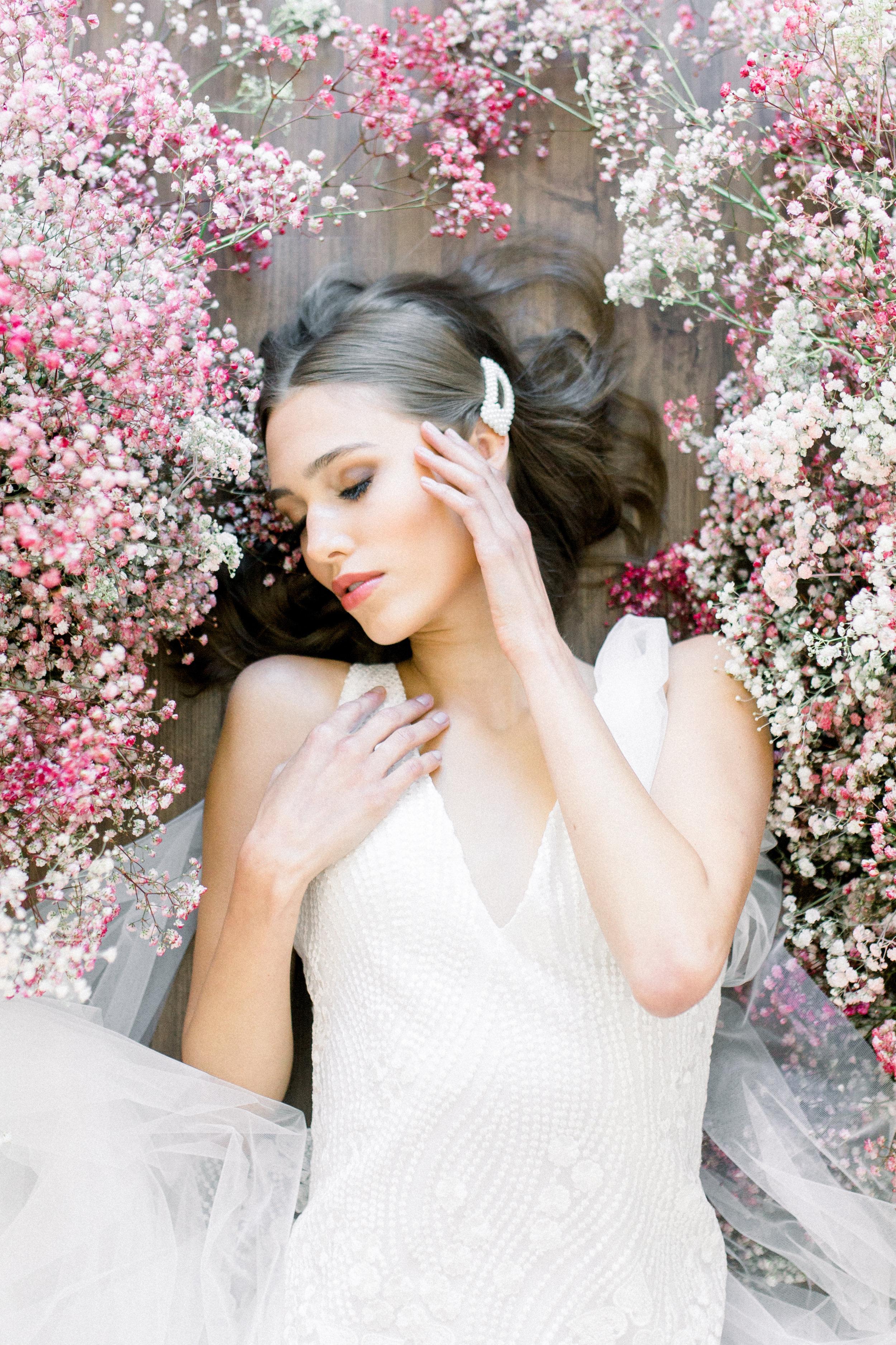 Bridal Gown Lookbook - Arizona florist Phoenix Scottsdale Sedona - Pink Ombre Babies Breath