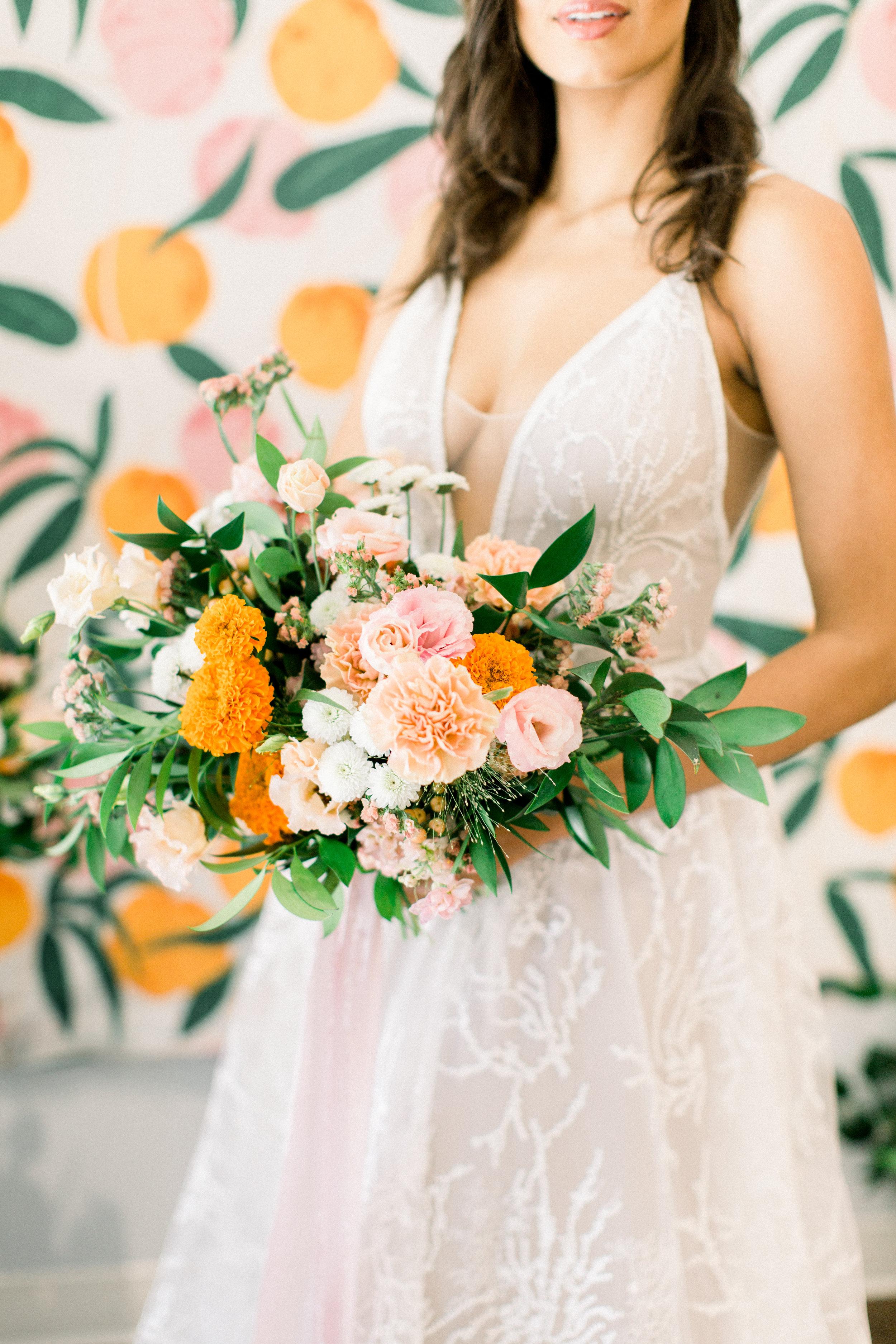 Bridal Gown Lookbook - Arizona florist Phoenix Scottsdale Sedona - Orange and Pink Bridal Bouquet Inspiration - Citrus Wedding