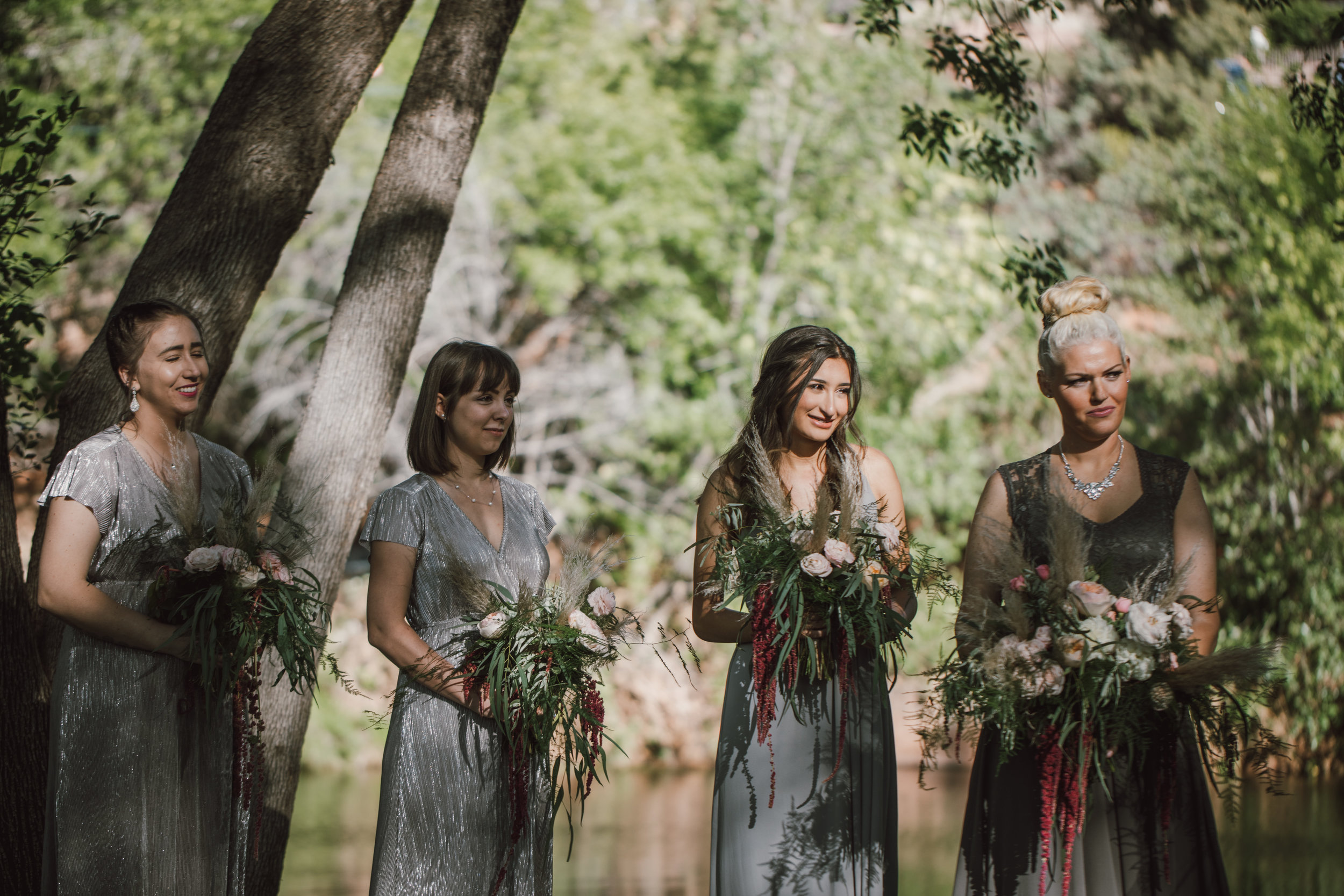 Los Abrigados Wedding - Arizona Florist Phoenix Scottsdale Sedona - Bridesmaids in Mixed Tones of Grey