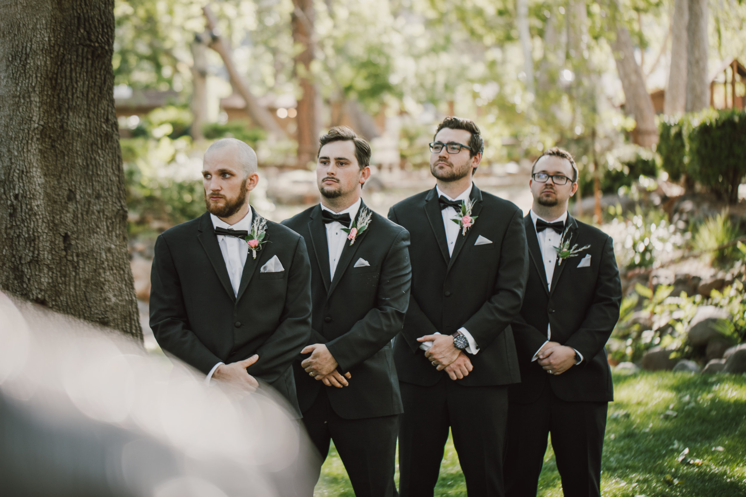 Los Abrigados Wedding - Arizona Florist Phoenix Scottsdale Sedona - Groomsmen in Classic Black Suits