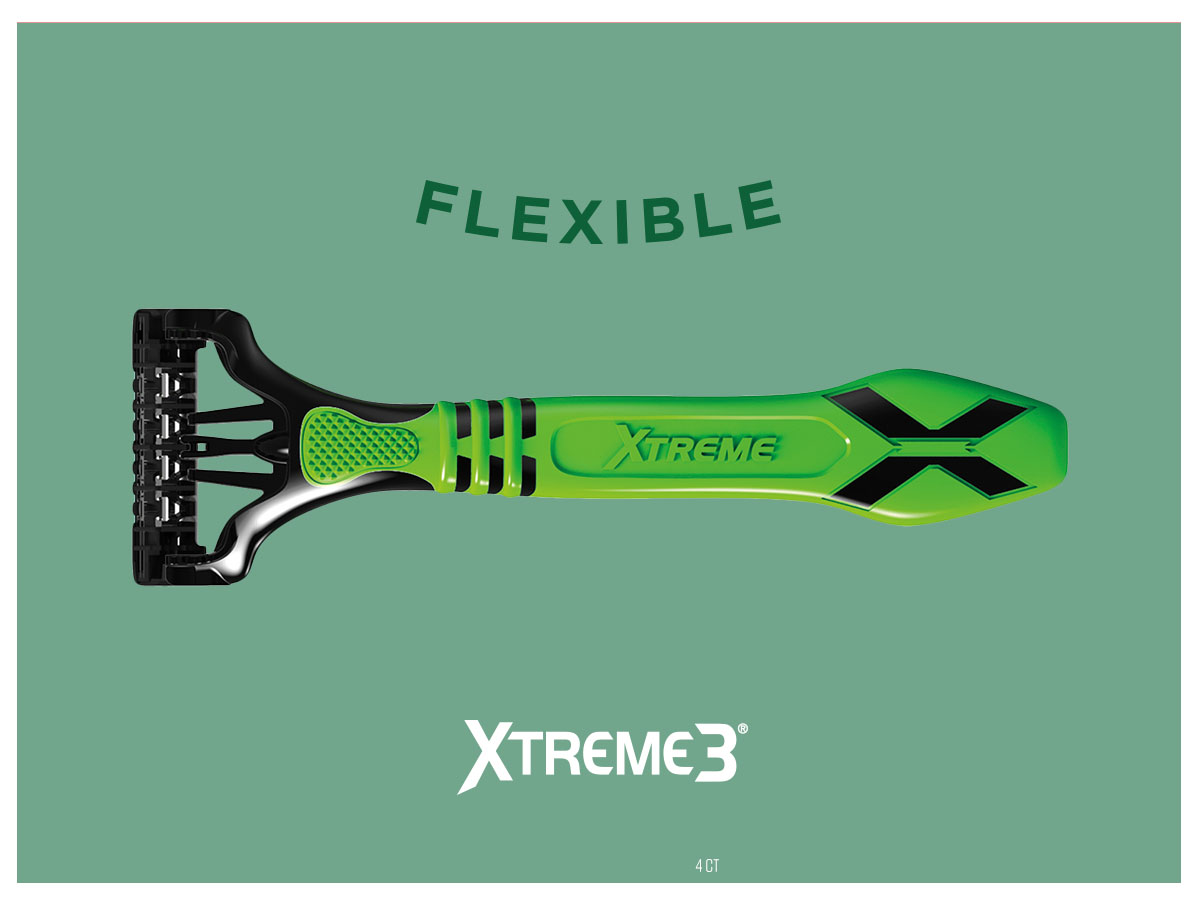 """- Schick Xtreme 3 expands from the corner to ll frame.""""Flexible"""" word bends."""
