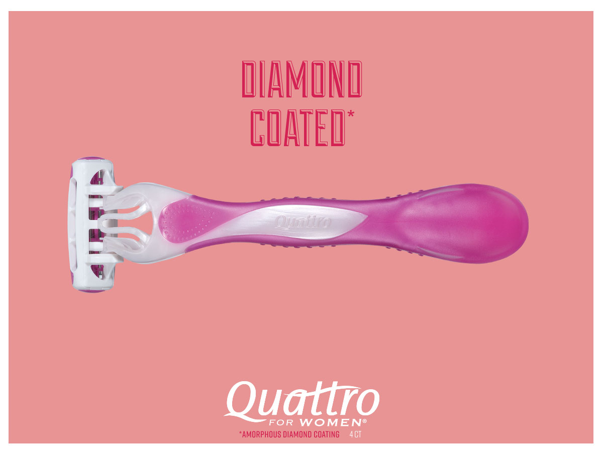 "- Xtreme 3 slides o the left side and Quattro for Women follows it in from the right. ""Shine"" animation goes across ""Diamond Coated"" claim."