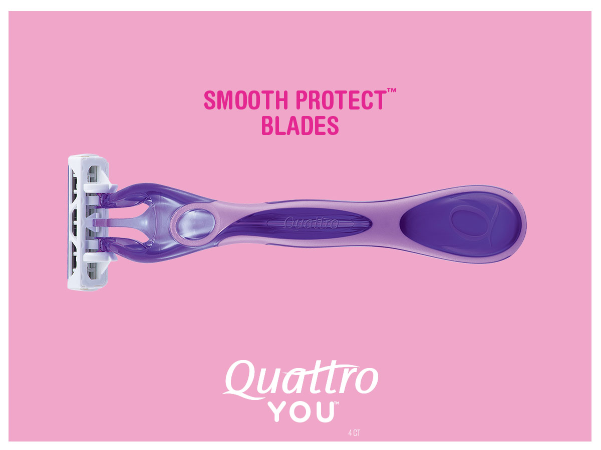 "- Slim Twin 2 art slides o the right side and is followed by Quattro You™. ""Smooth Protect™ Blades"" fades out. Art collapses into a horizontal rule to reveal Frame 1."