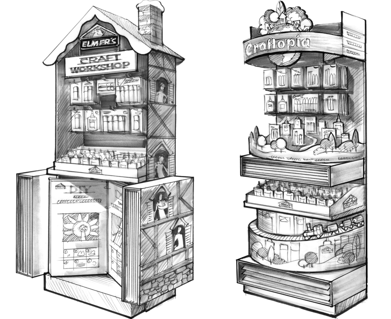 End Cap Tight sketches - Renders by our incredible illustrator, Vitaliy, based on my initial sketches.