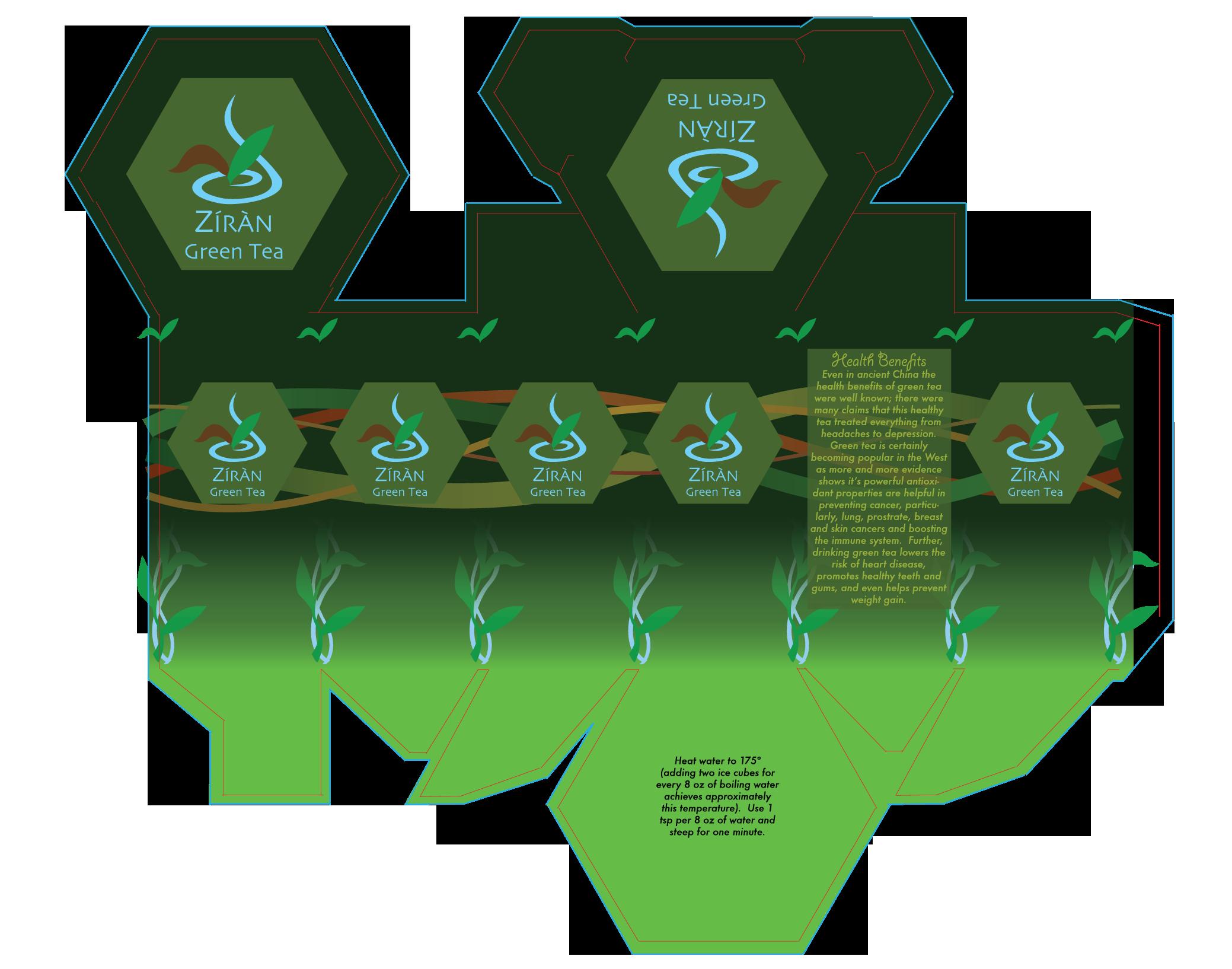 Ziran Tea Hex-Box PAckaging Flat -
