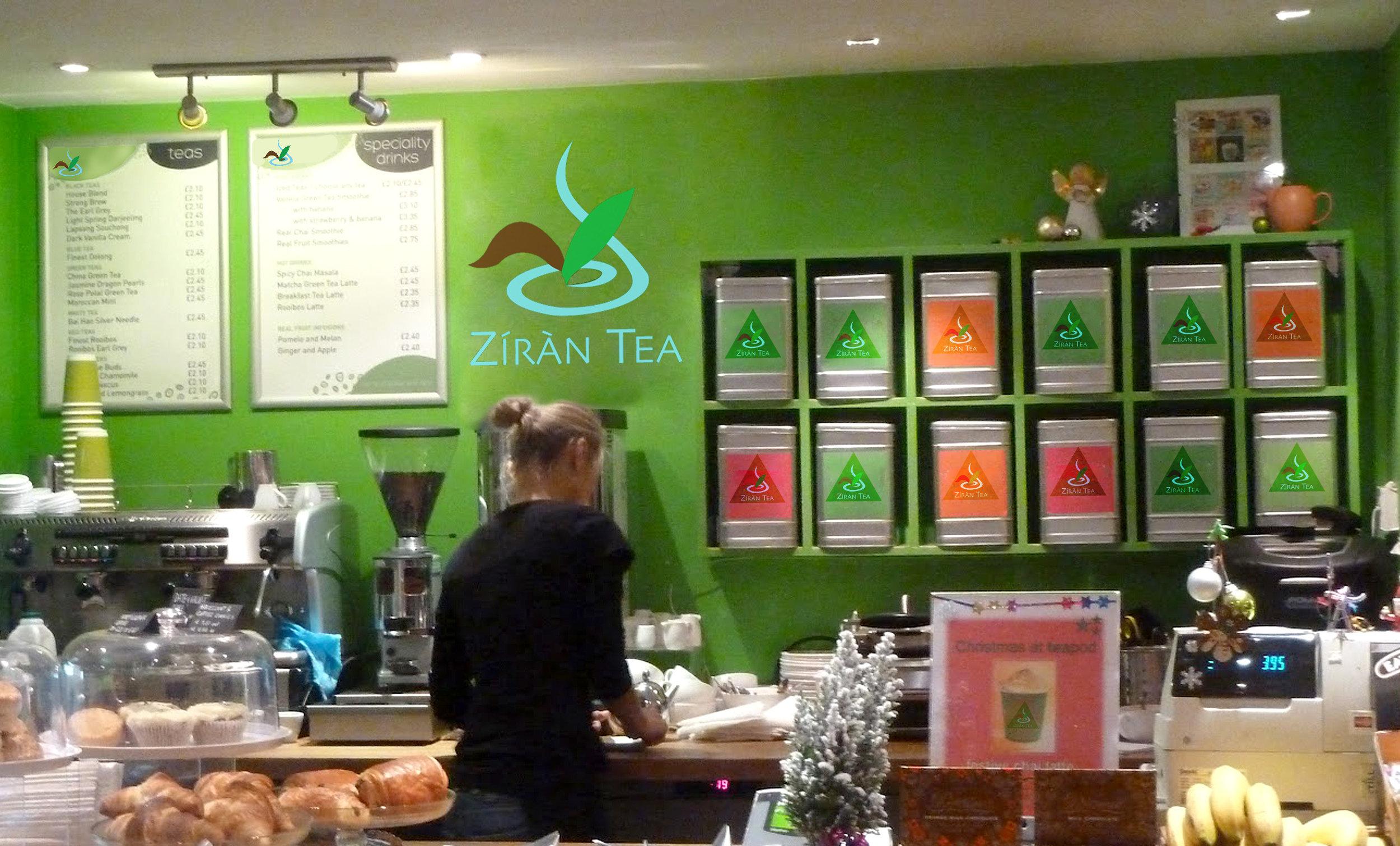 A mock-up of a Ziran Tea café location