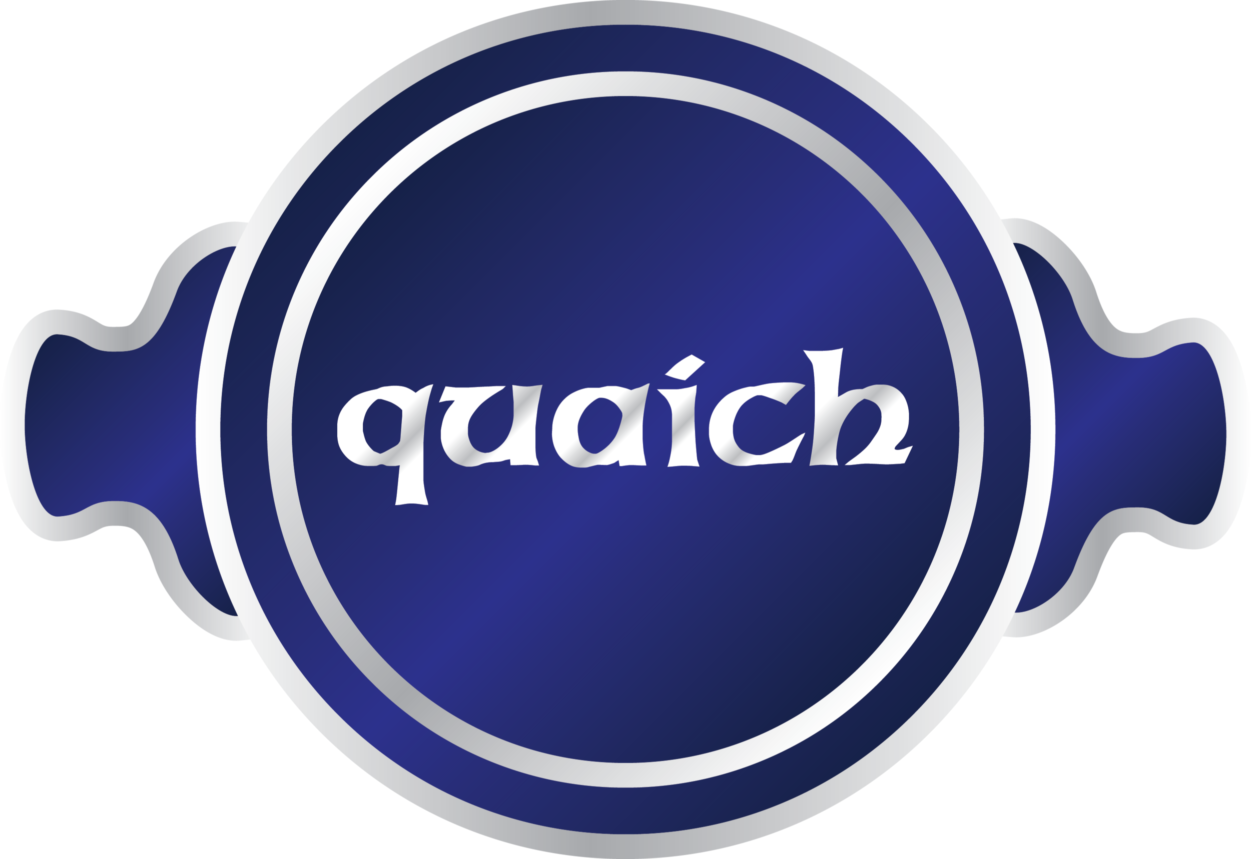 The Quaich is a traditional Scottish bowl characterized by two handles. I used the name and the shape of the Quaich to inspire the logo.This bowl, originally used for drinking scotch is now largely used for trophies and ceremonial awards, speaks to Scottish heritage and to quality.