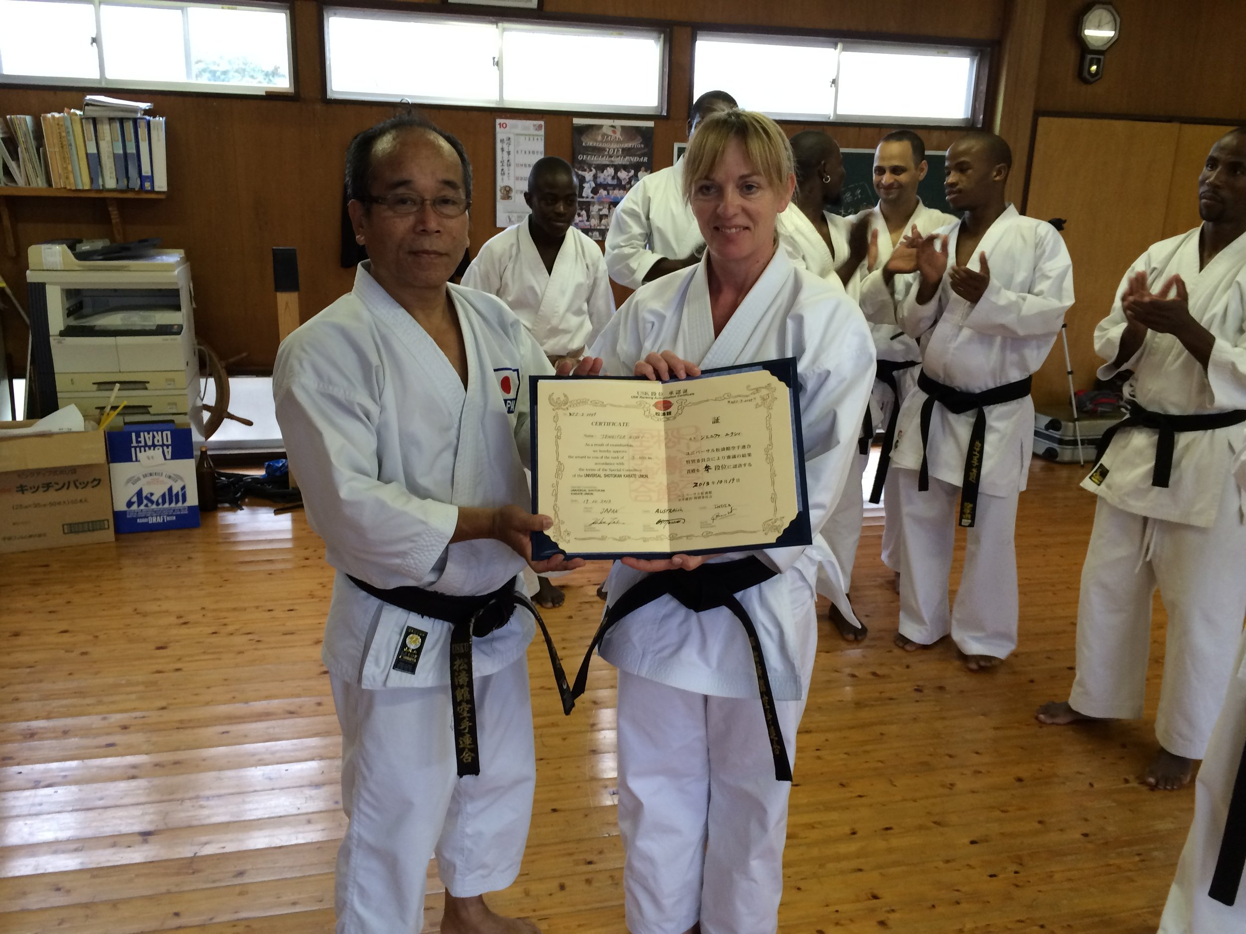 Jenny Nixey is awarded Sandan (third degree black belt) having successfully graded in Miyazaki, Japan.