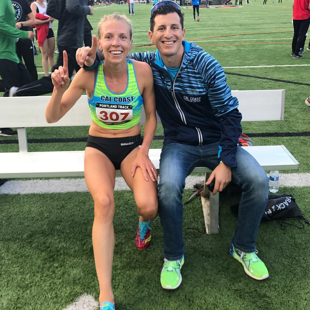 Coach Jabaz with Hanna Hermansson after qualifying for Worlds in the 800m