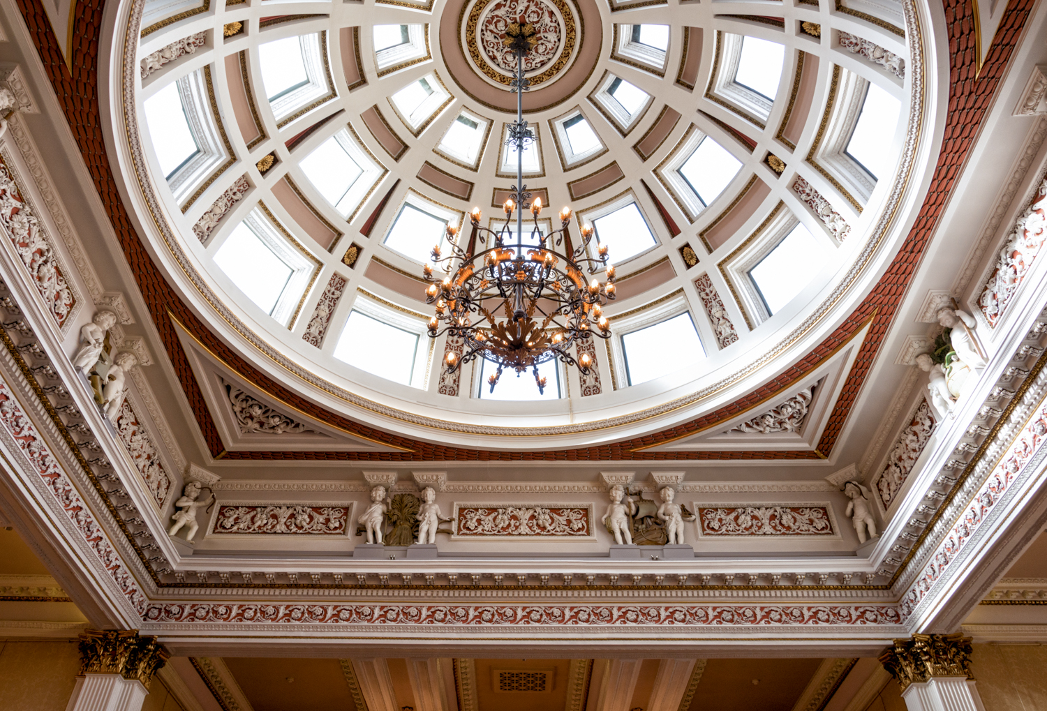 The delightful domed ceiling in the Merchants' Hall