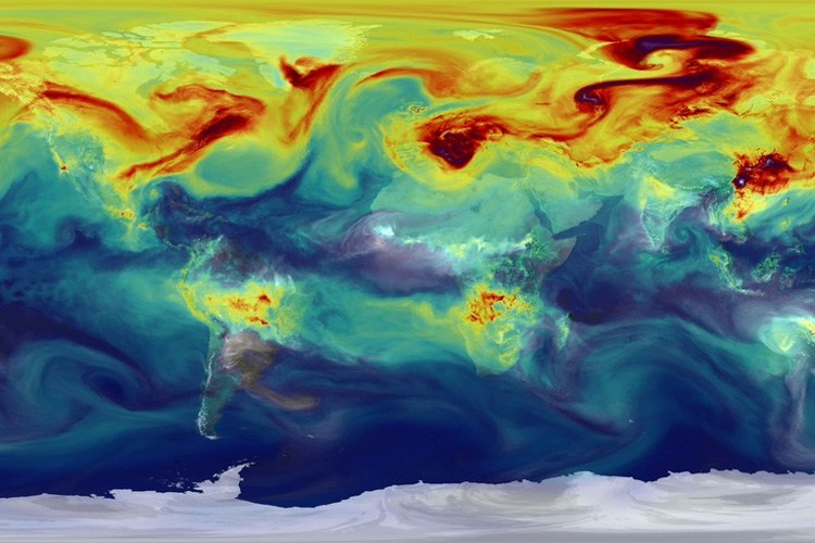 NASA sate llite mapping of carbon dioxide in the atmosphere