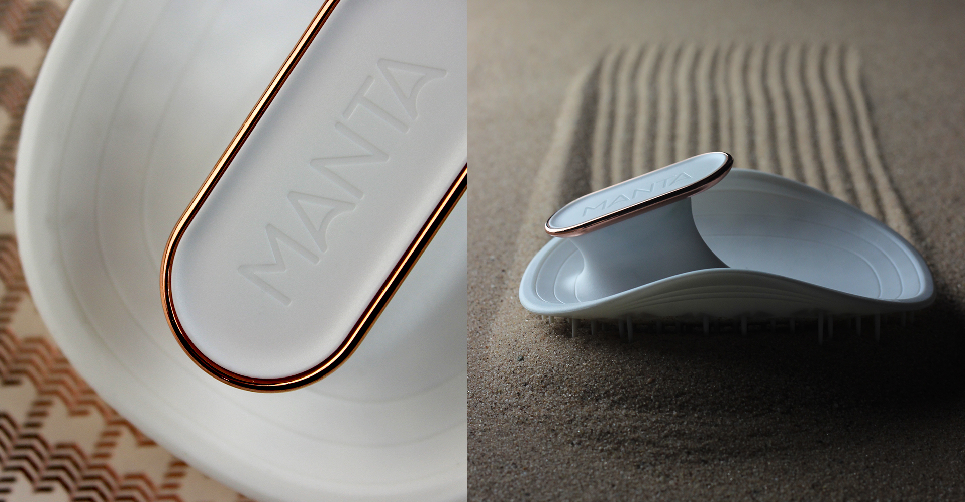 Manta - Curventa - hairbrush - black - white - brush - gold - rose gold - haircare - materials - cmf - flexible - photography - details - sand - closeup