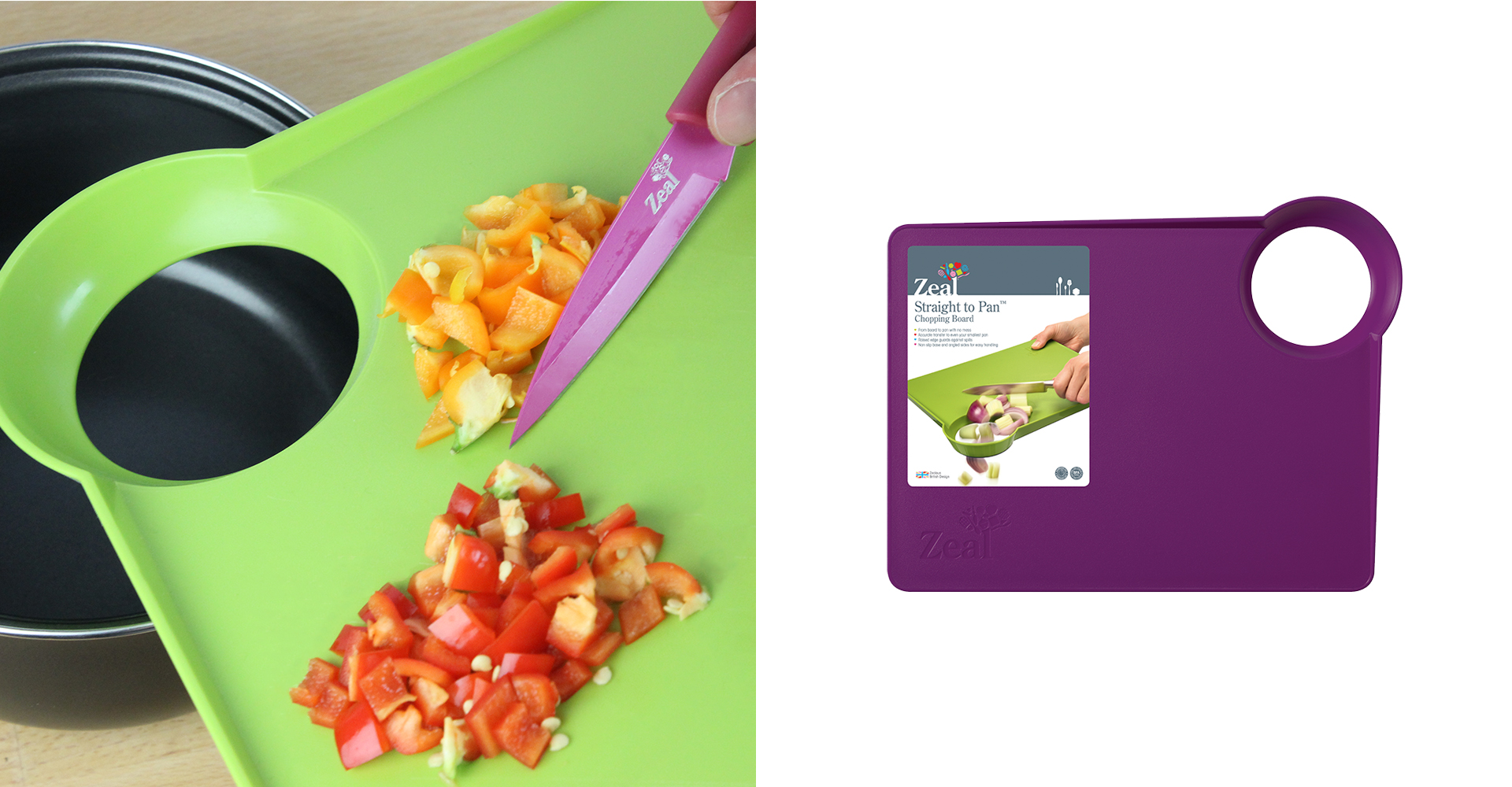 CKS Control range - Hole board - chopped - vegetables - cooking - zeal - green - purple