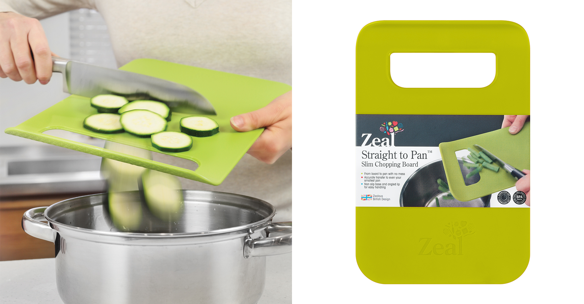 CKS Control range - Zeal - Thin board - cooking - chopped - courgettes - top view - knife