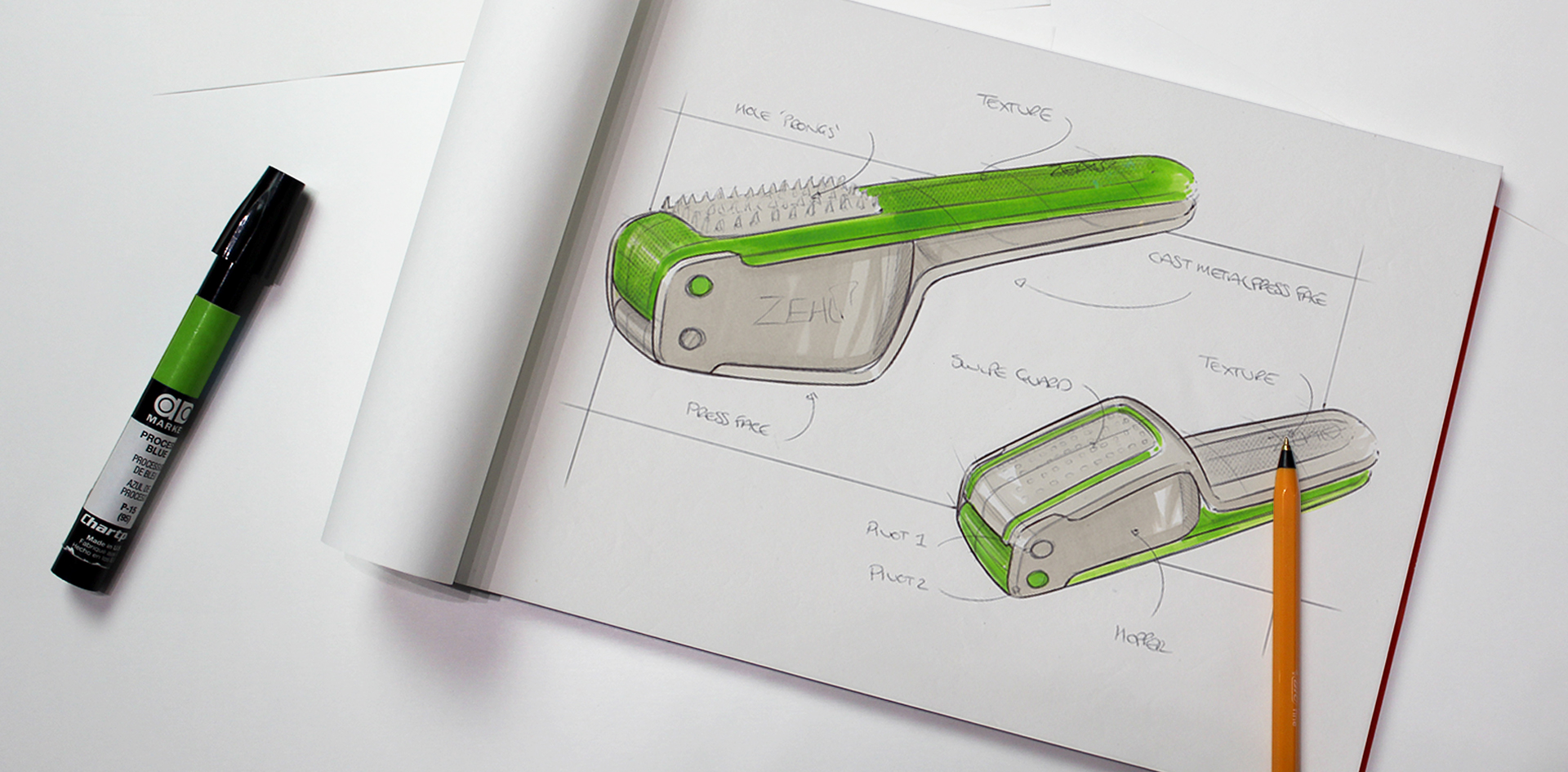 Zeal Garlic press |Sketching initial concept