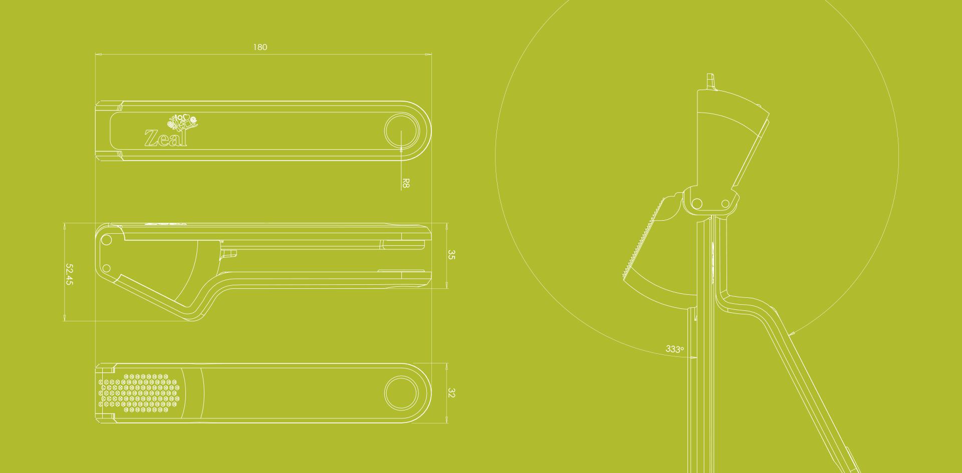 Zeal Garlic press | Detailed engineering drawings