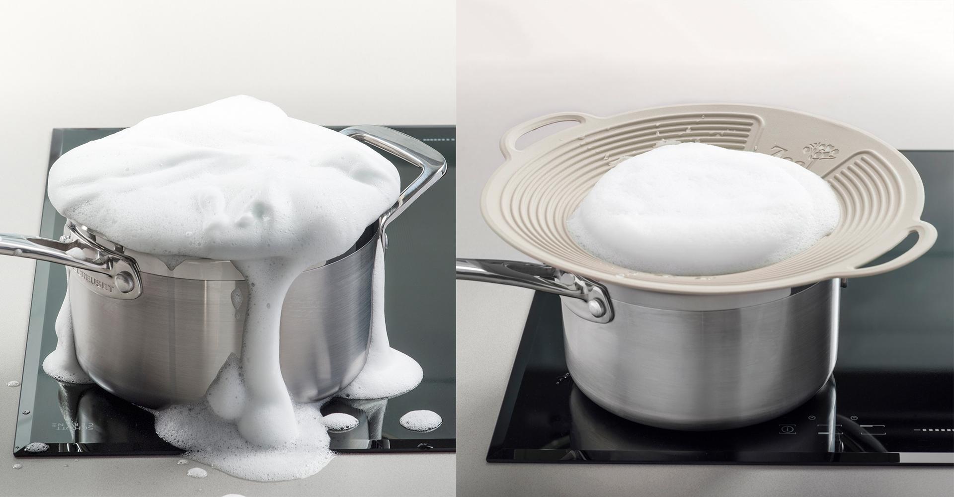 CKS Zeal 2018 range| CKS - Zeal - Boil over lid - Froth - Spillage - Cooking - Design - Pan - Lid - Stove - Mess - Lecreuset
