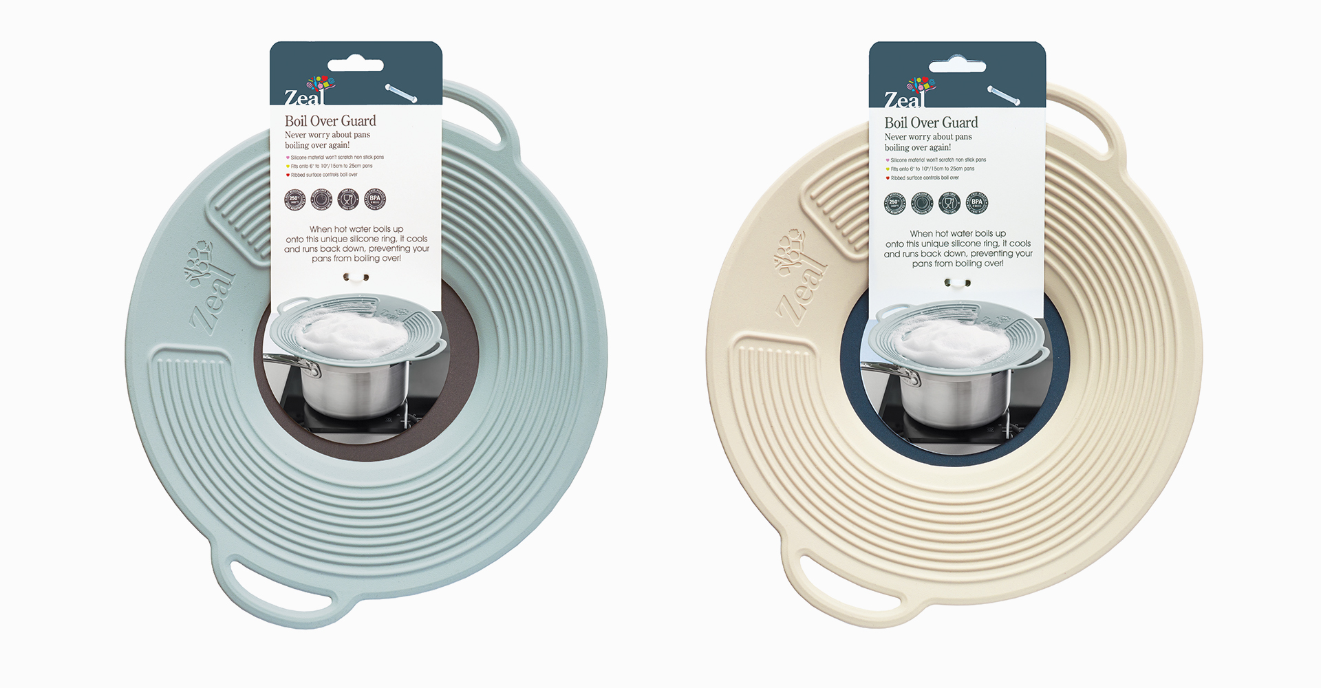 CKS Zeal 2018 range| CKS - Zeal - Boil over lid - Lid - Texture - Design - Guard - Packaging - Graphics - Graphic design - Blue - White - Handle - Functional