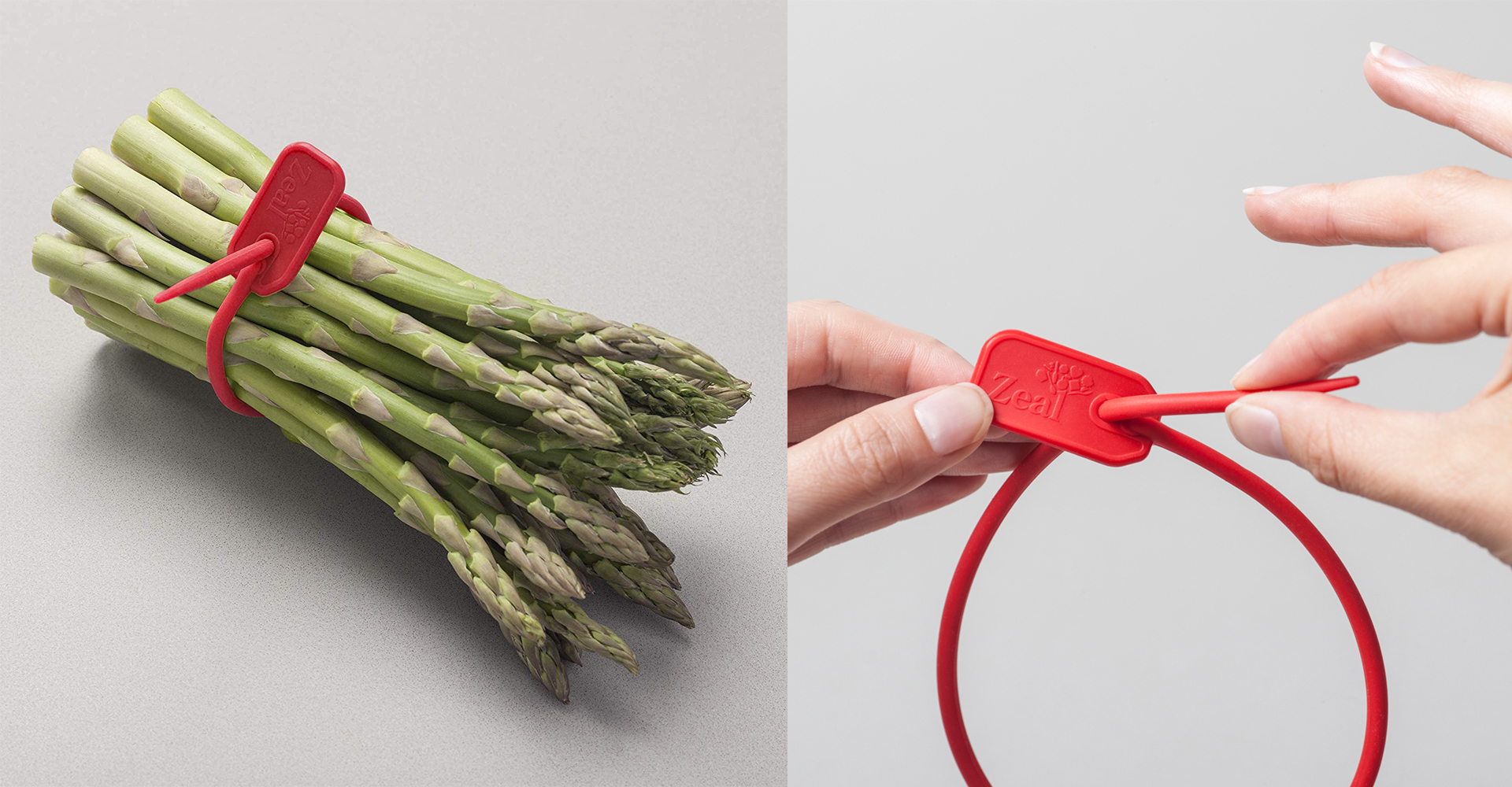 CKS Zeal 2018 range| Silicone ties - CKS - Zeal - Red - Asparagus - Tie - Design - Injection moulded - Matte finish - Cable - Hand - Tying - Logo