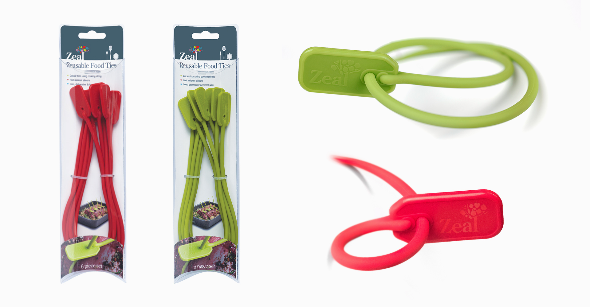 CKS Zeal 2018 range| Silicone ties - Tie - Cable - Red - Green - Packaging - Logo - Graphics - Graphic Design - Product - Injection moulded - Multiple cables - Photography - Design