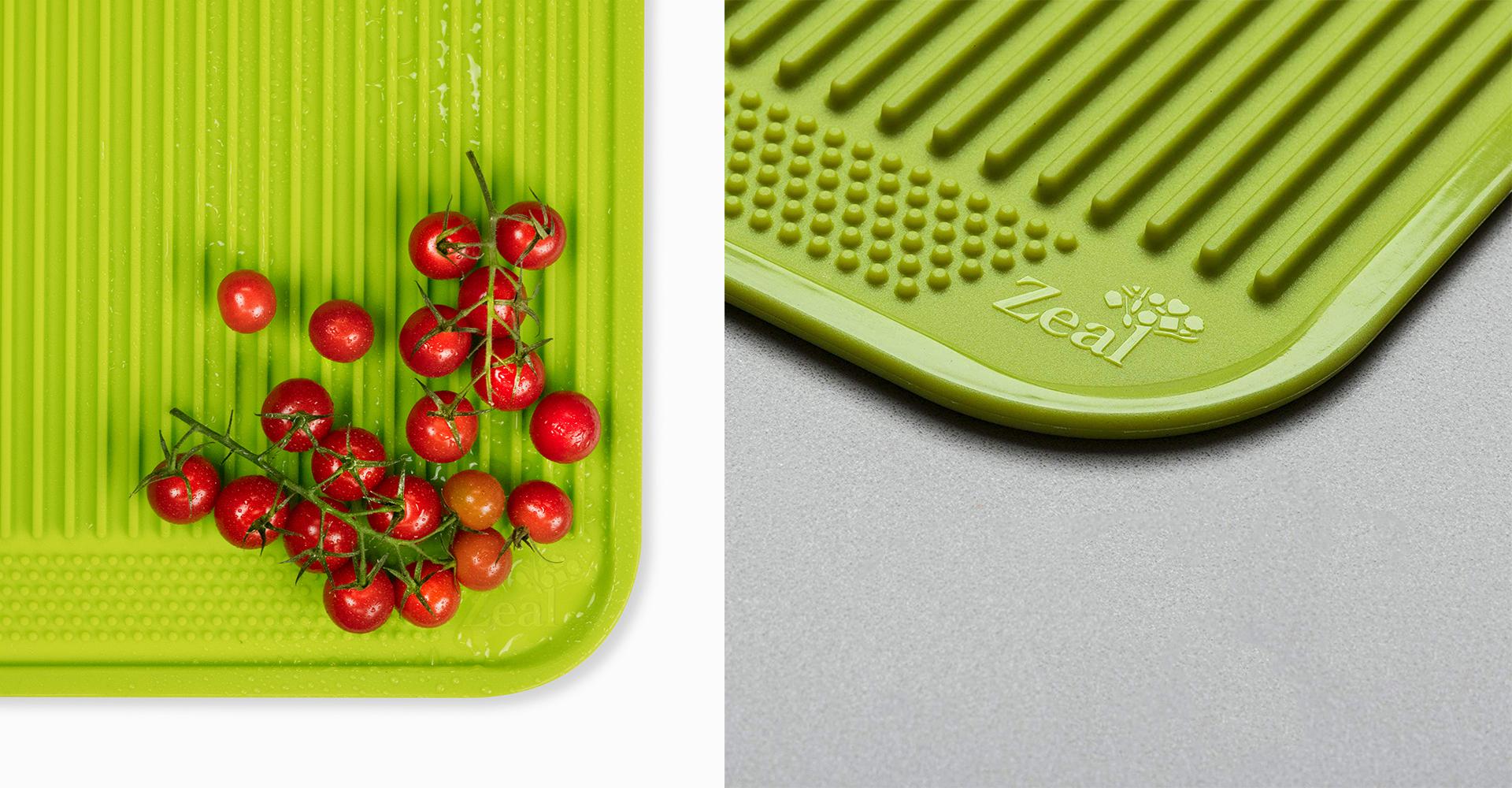 CKS Zeal 2018 range| Draining mat - CKS - Zeal - Kitchen - Design - Texture - Detail shot - Photography - Tomato - Red - Green - Detail - Product - Mat - Silicone