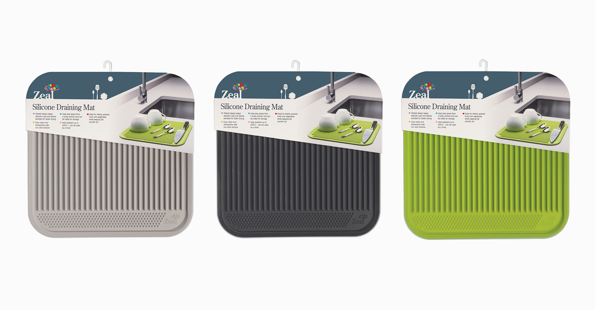 CKS Zeal 2018 range  Draining mat - CKS - Zeal - Texture - Grey - Black - Lime green - Packaging - Design - Logo - Design - Graphics - Graphic design - Silicone - Product - Photography