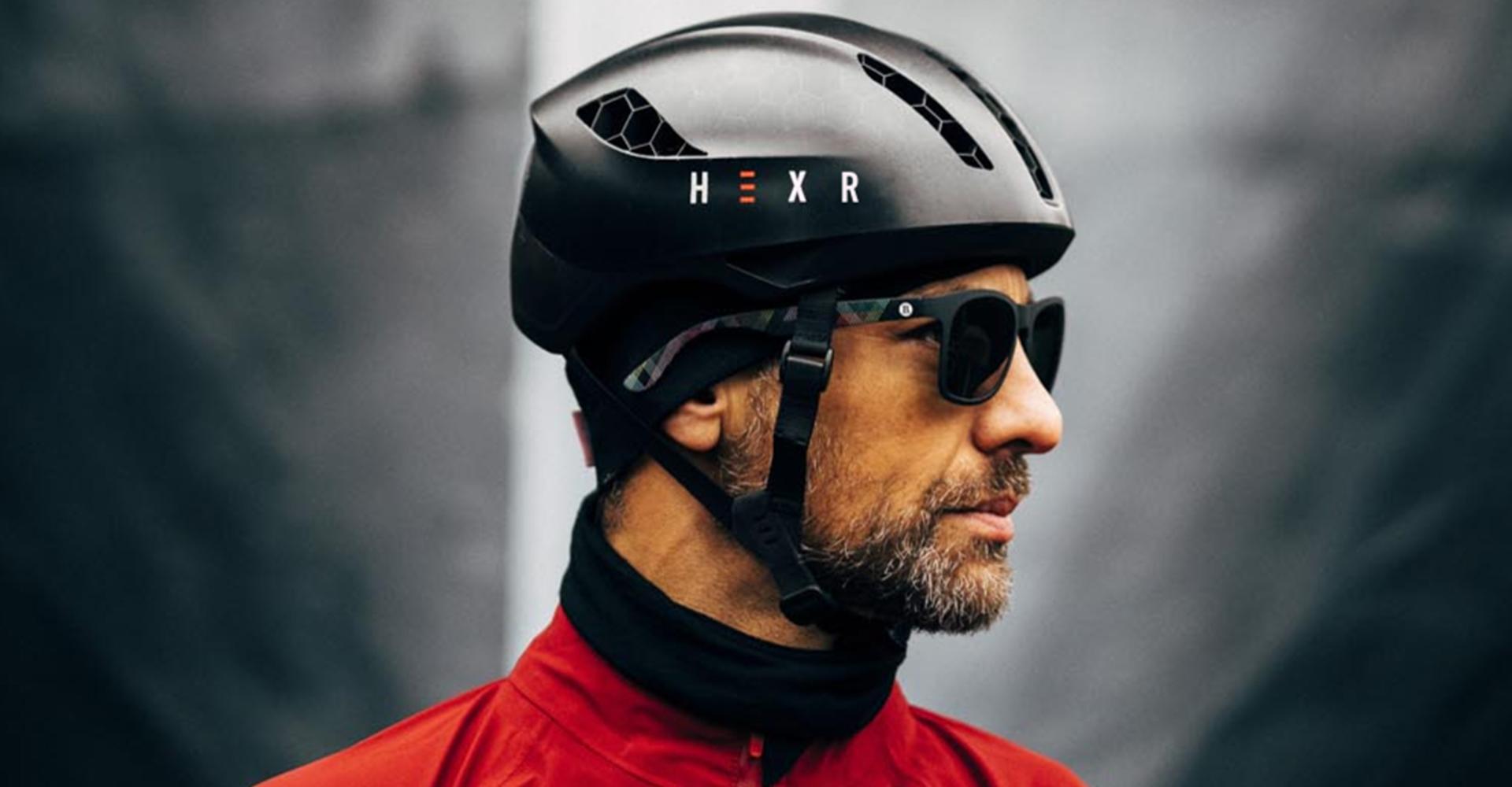 Hexr - helmet - photography - black - curventa - design - model - cycling - performance - transparent - hex - 3D print - aero - custom - headscan - closeup - detail - fabric - material