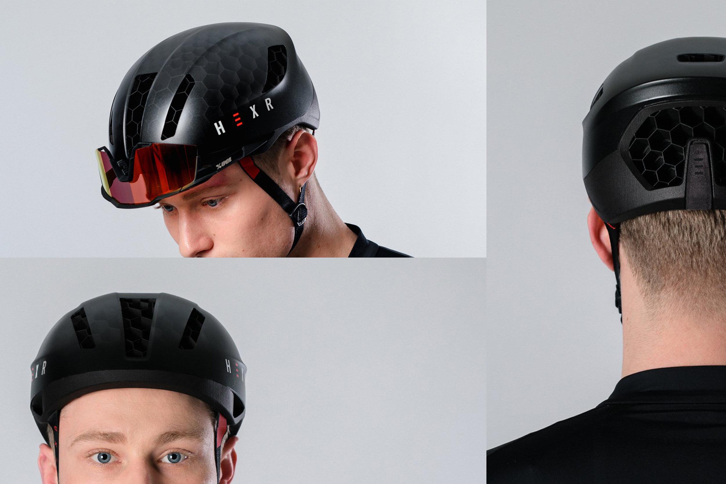 Hexr - helmet - photography - black - curventa - 3D printed - glasses - headgear - straps - male - vents - ventilation - transparent - hex - views - back view - aerodynamic - details - front view