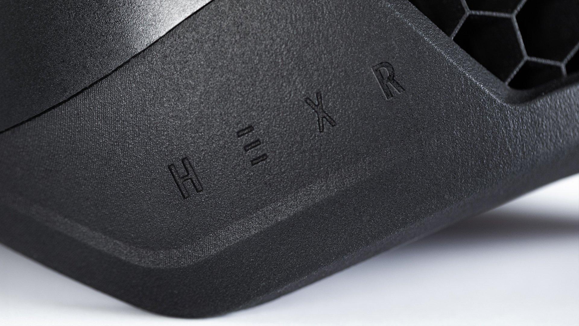 Hexr - helmet - photography - 3D print - design - hex - detail - chamfer - edge - printed - custom - black - material - logo - embossed